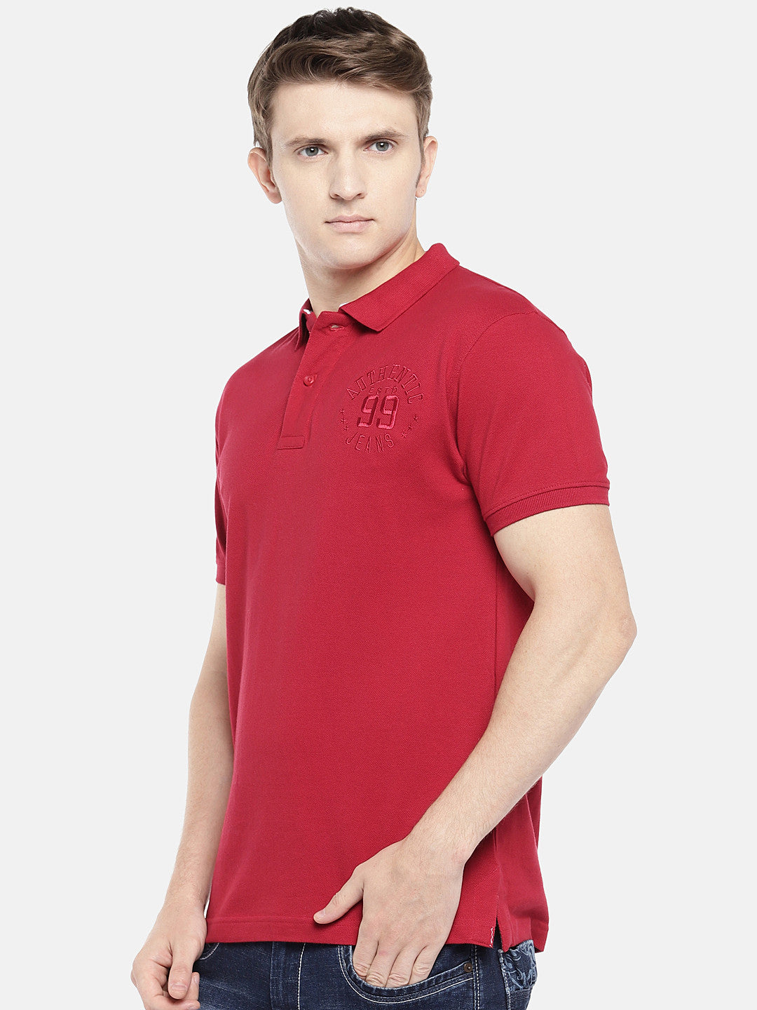 Red Solid Polo Collar T-shirt-2