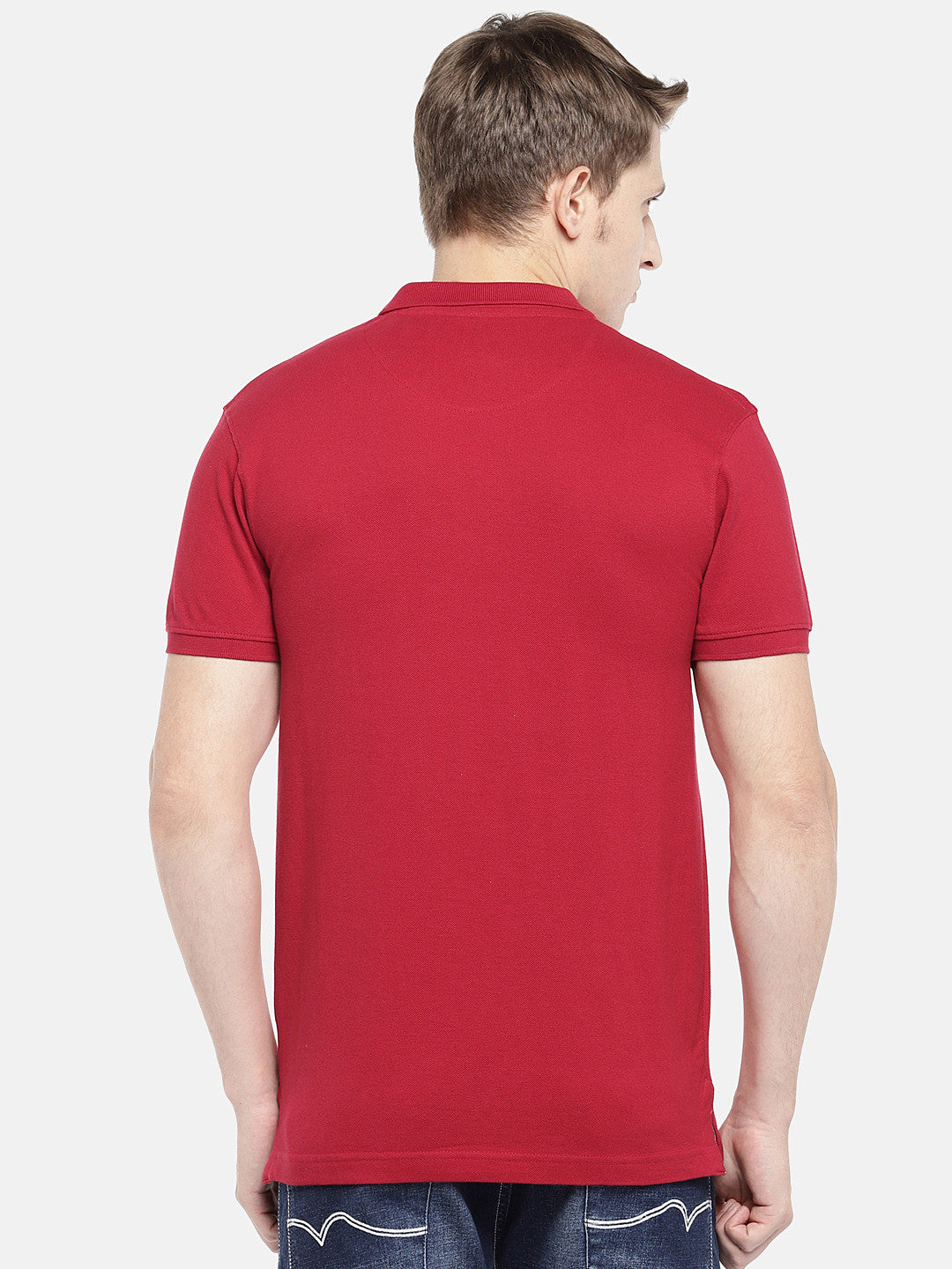 Red Solid Polo Collar T-shirt-3
