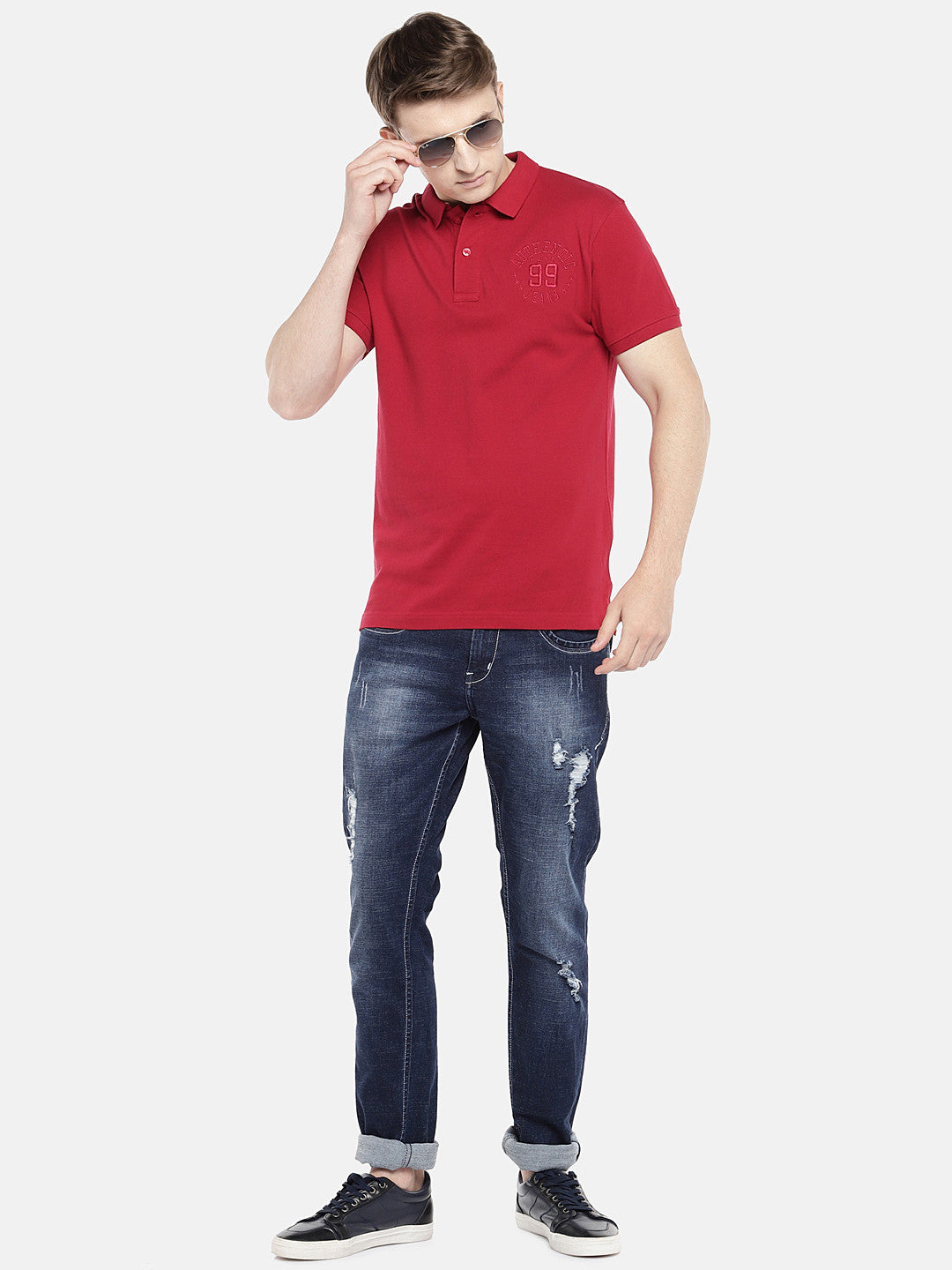 Red Solid Polo Collar T-shirt-4