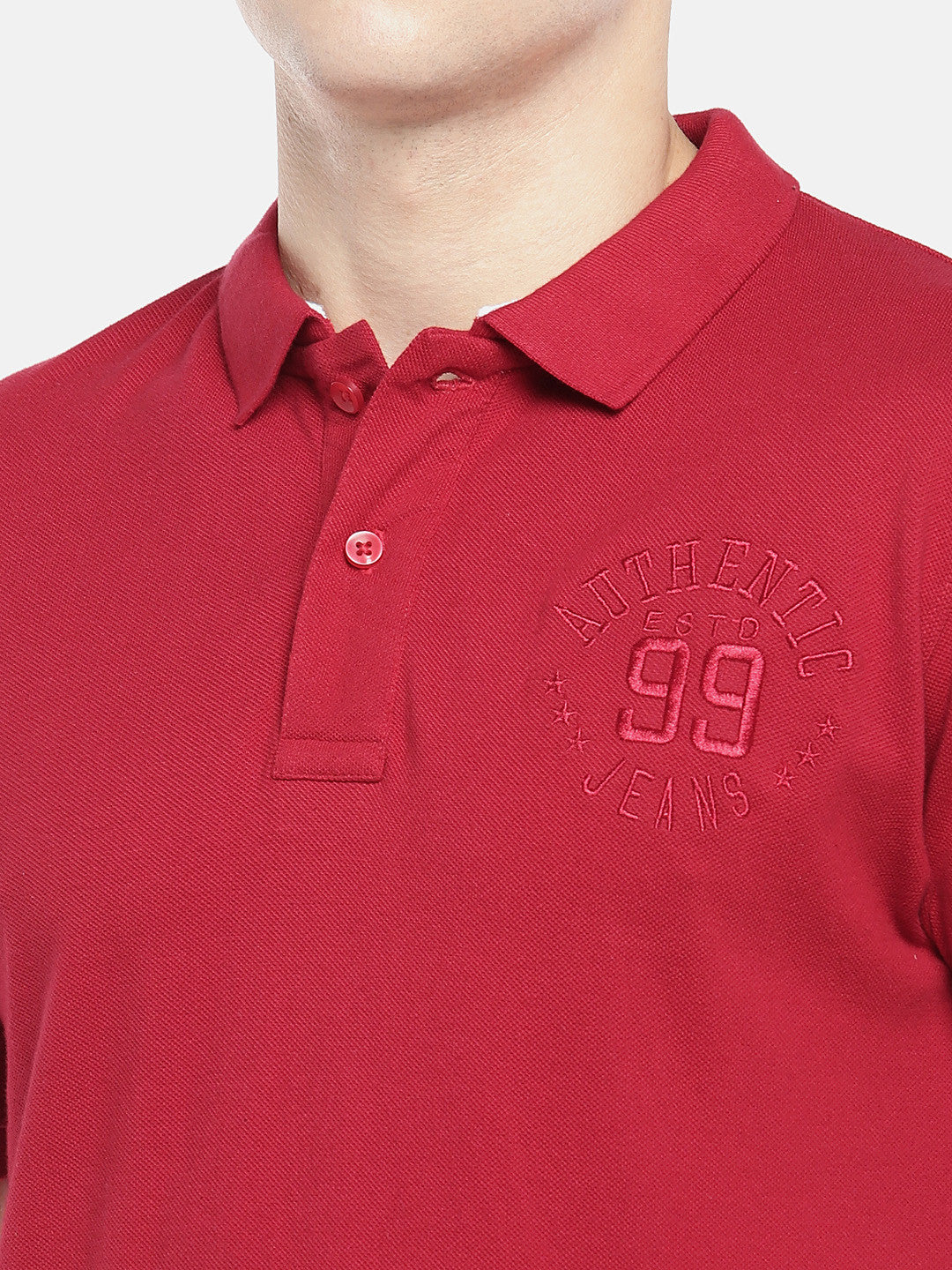 Red Solid Polo Collar T-shirt-5