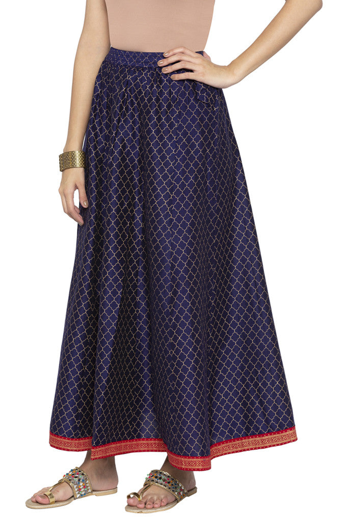Ethnic Print Flared Skirt-4