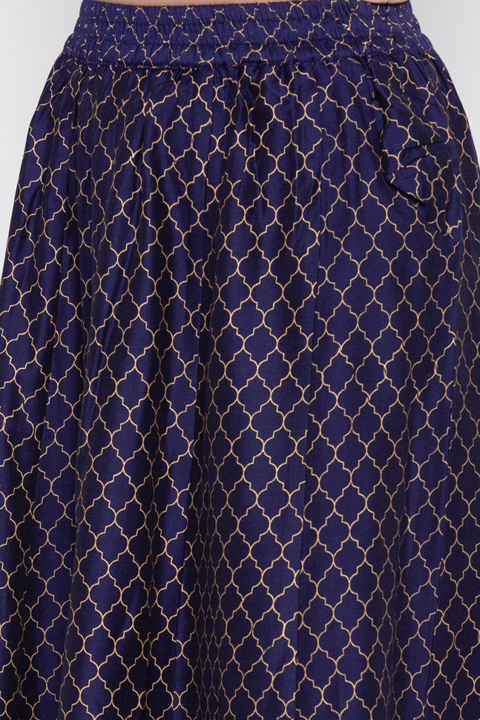 Ethnic Print Flared Skirt-5