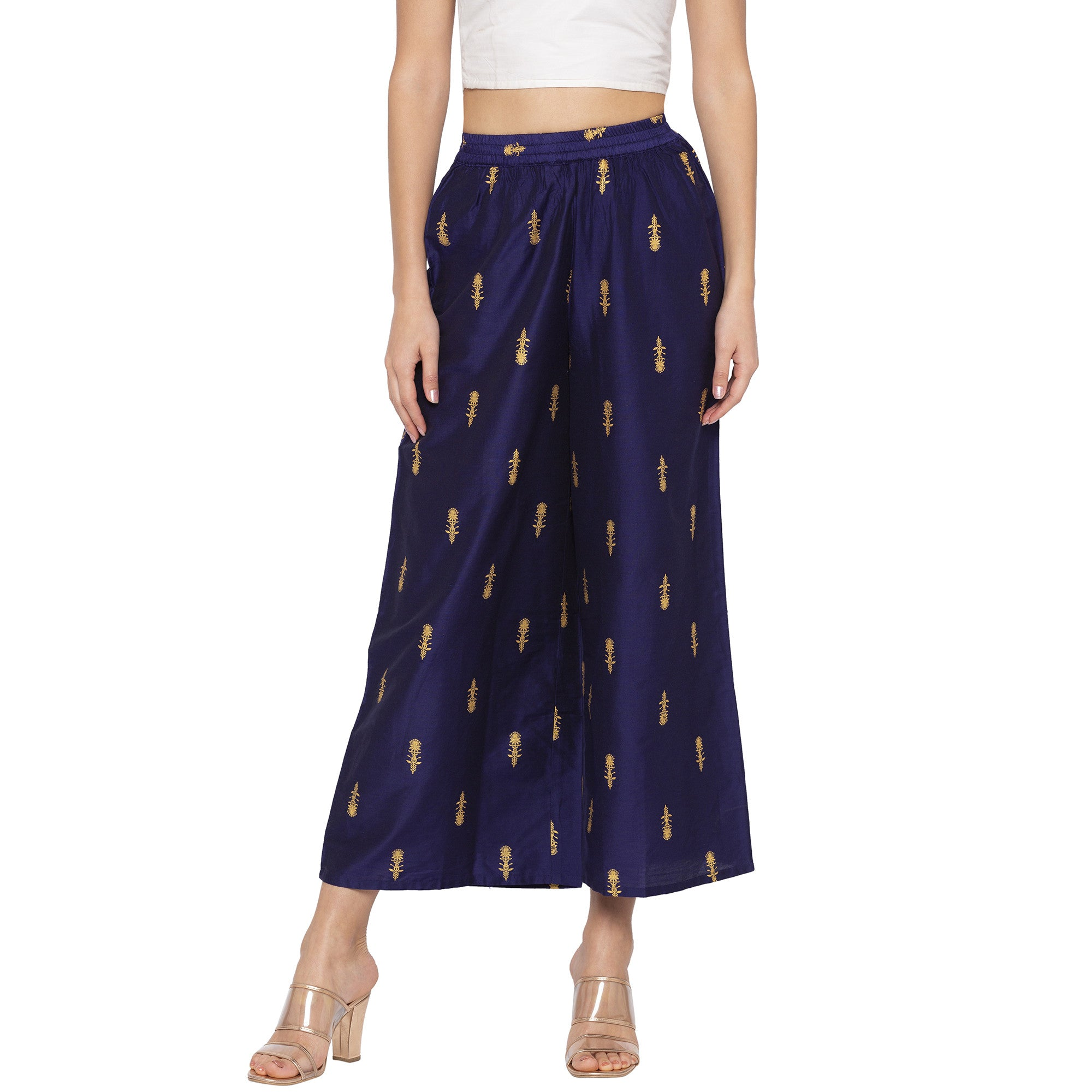 Casual Navy Blue Color Loose Fit Cropped Parallel Trousers-1
