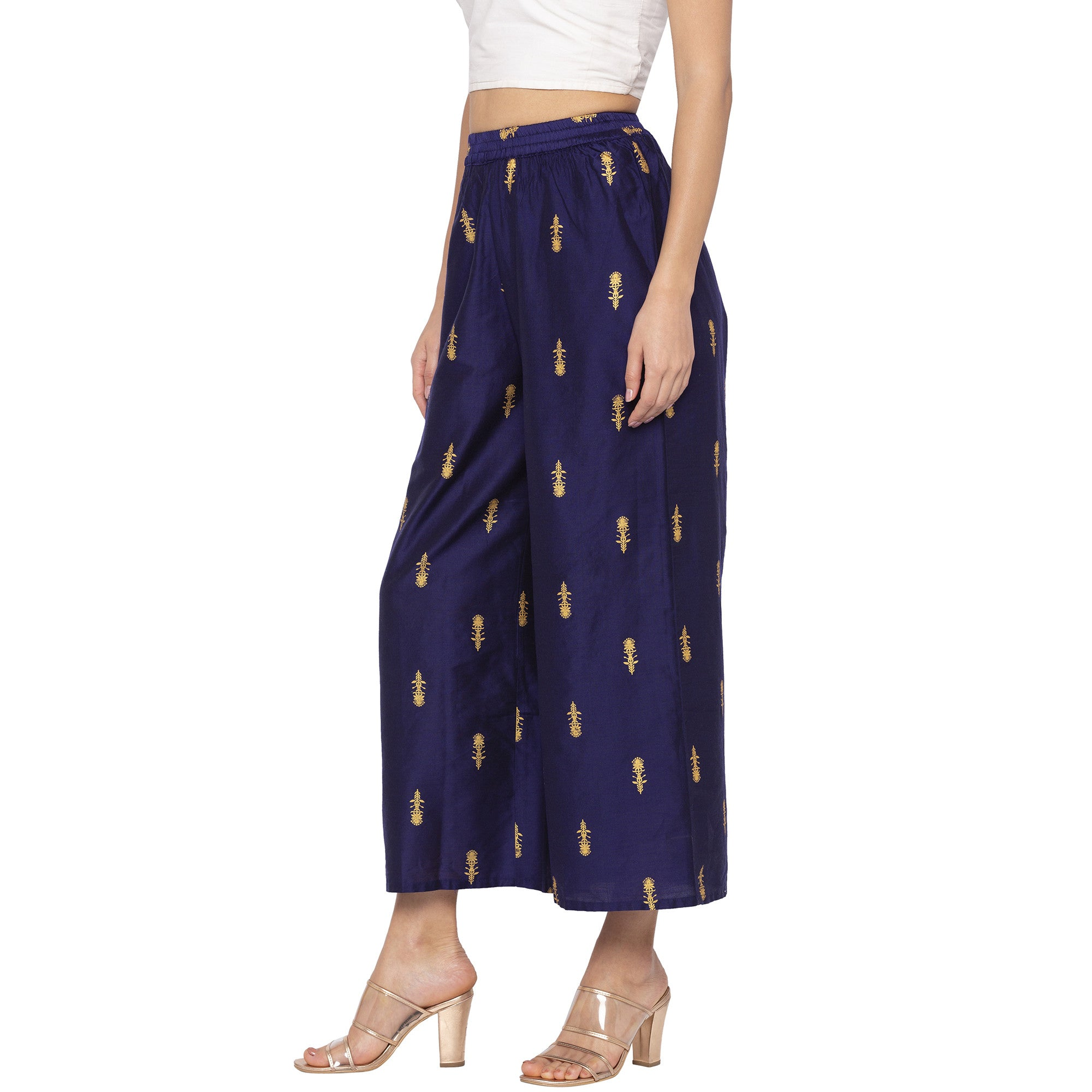 Casual Navy Blue Color Loose Fit Cropped Parallel Trousers-2