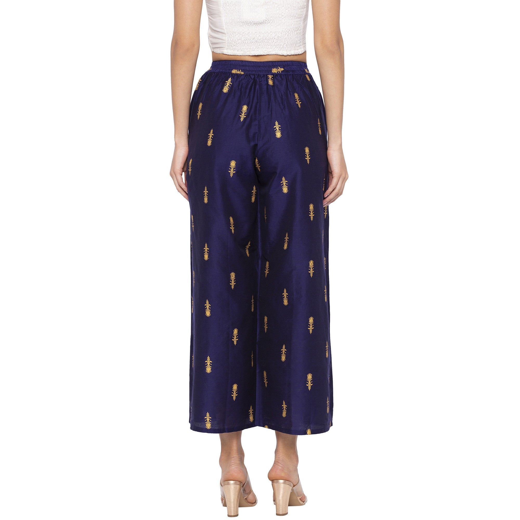 Casual Navy Blue Color Loose Fit Cropped Parallel Trousers-3