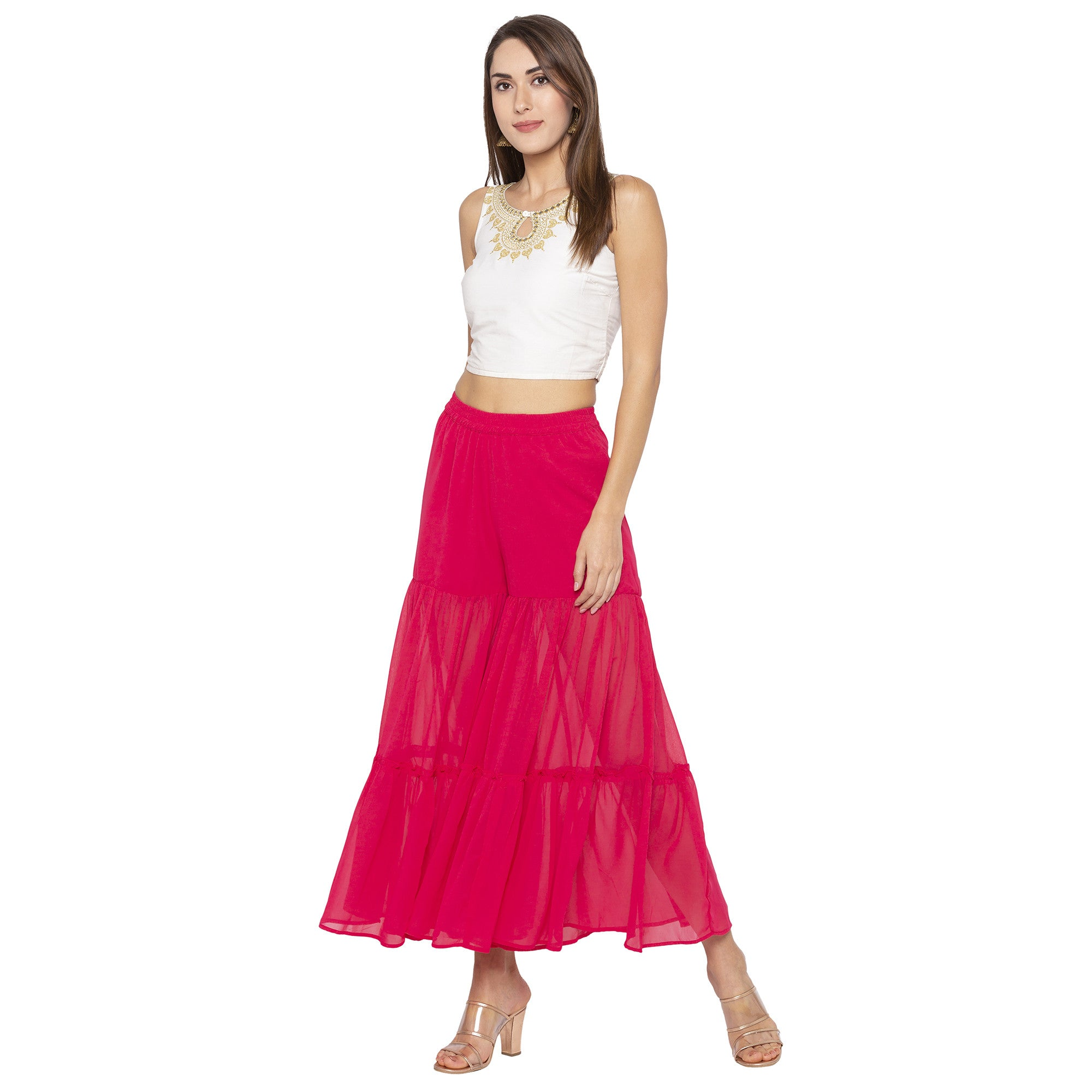 Casual Pink Color Loose Fit Cropped Parallel Trousers-4