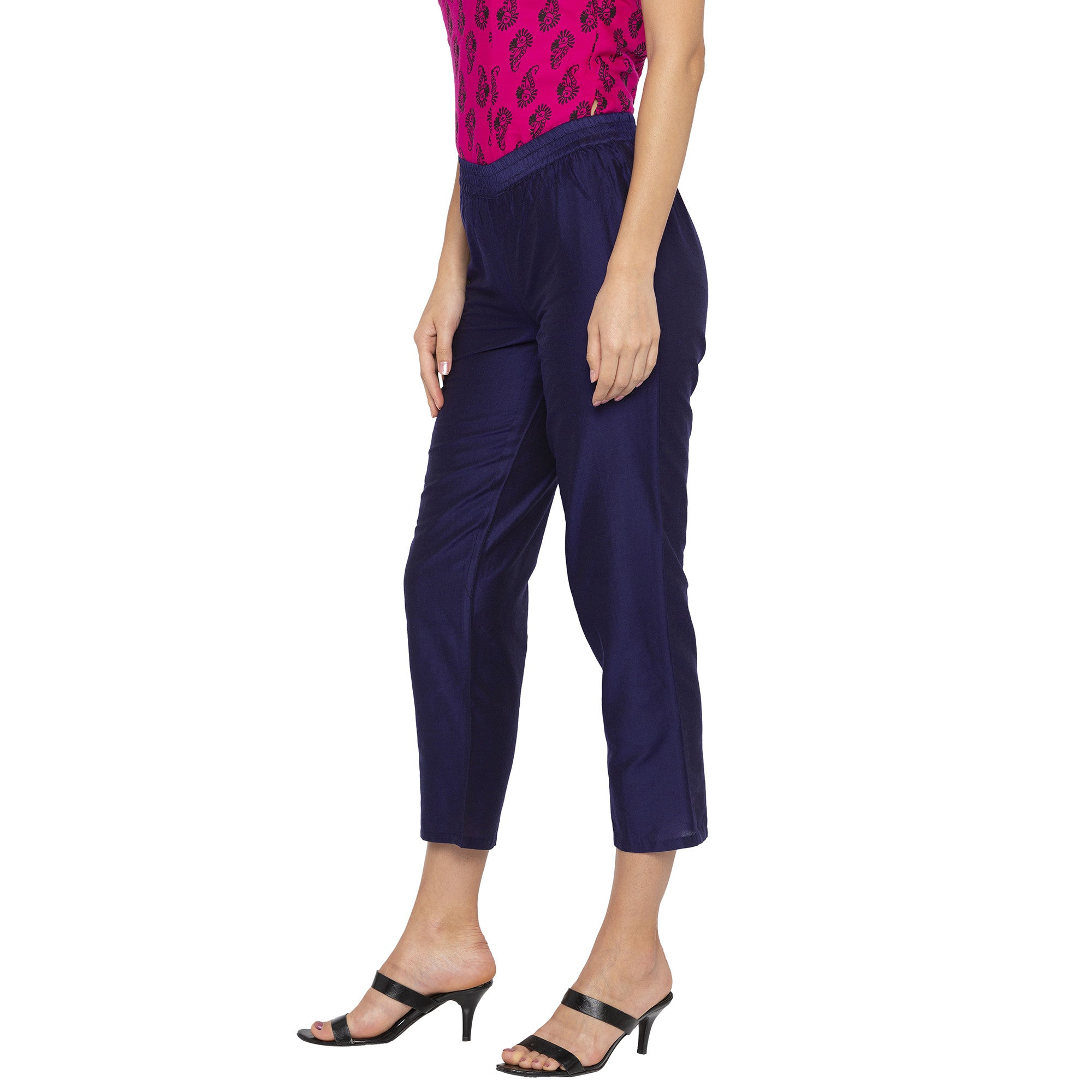 Casual Blue Color Regular Fit Cropped Regular Trousers-2