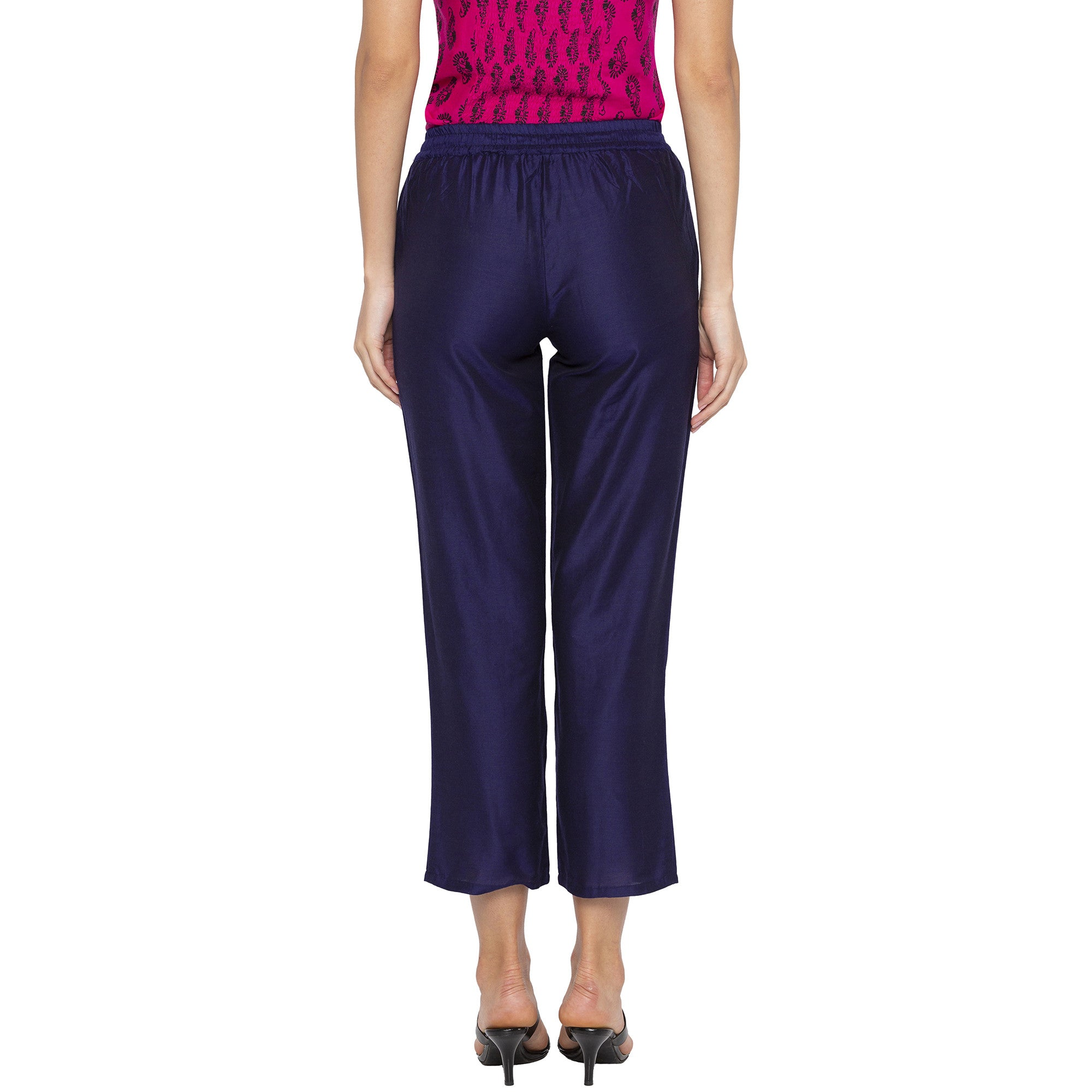 Casual Blue Color Regular Fit Cropped Regular Trousers-3