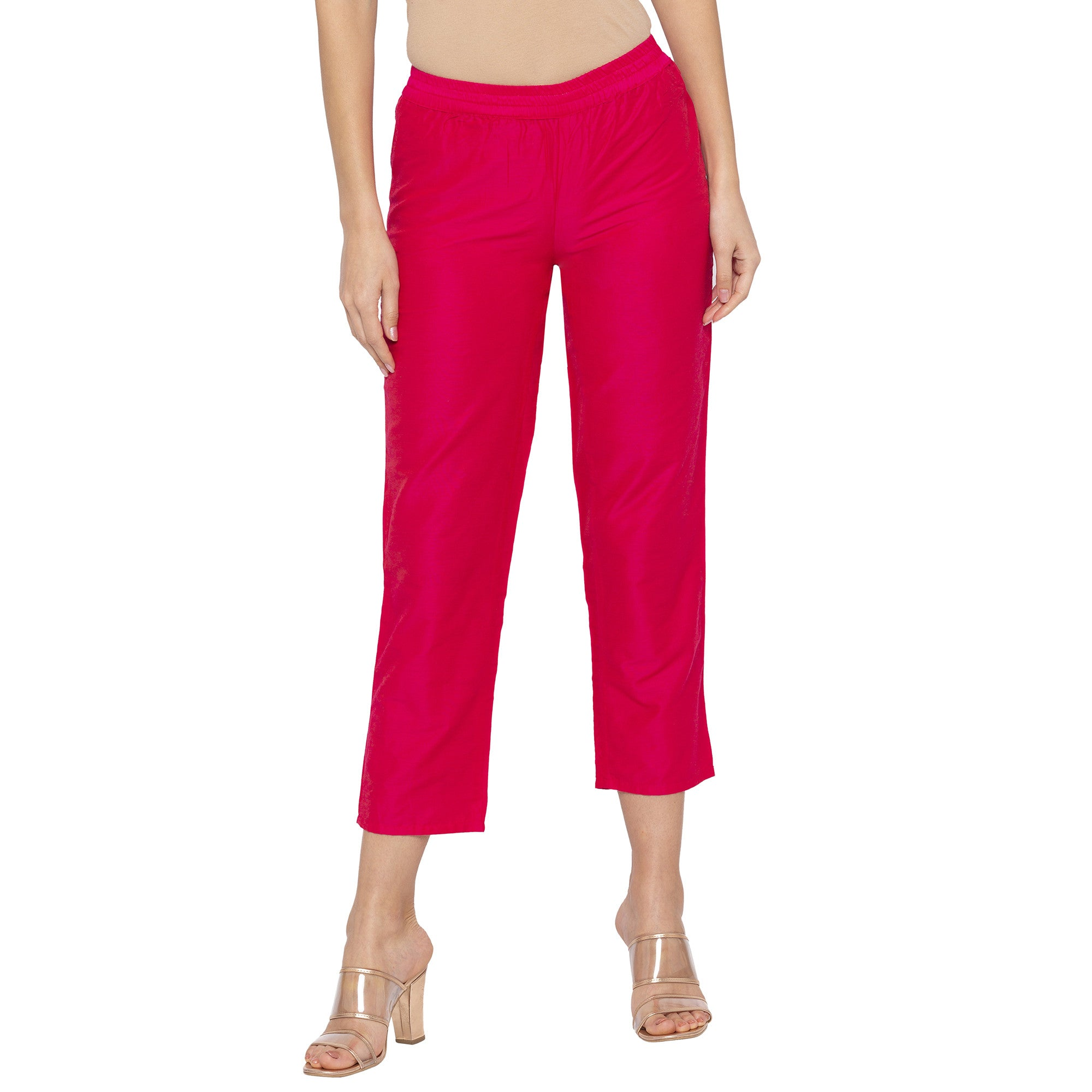 Casual Pink Color Regular Fit Cropped Regular Trousers-1