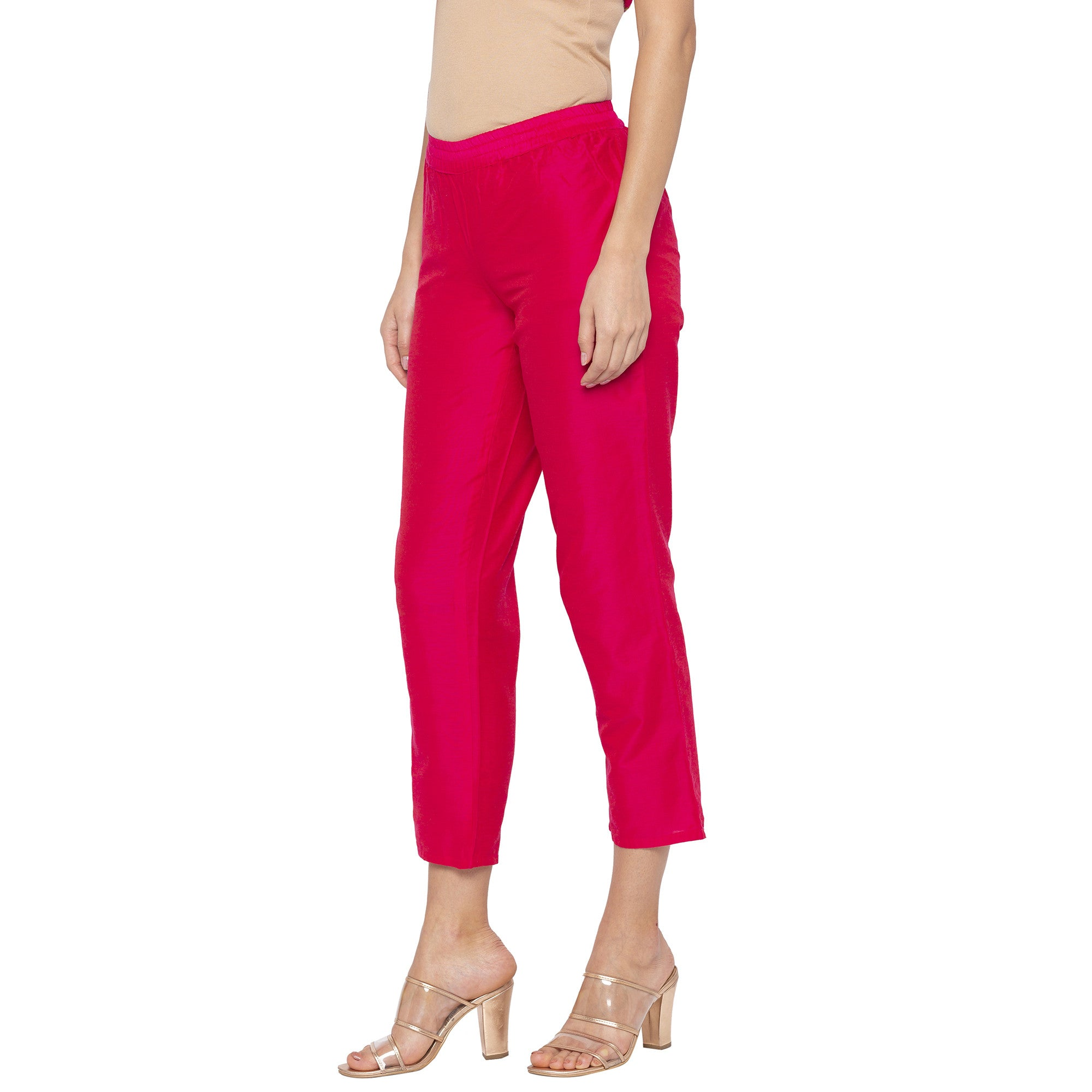 Casual Pink Color Regular Fit Cropped Regular Trousers-2