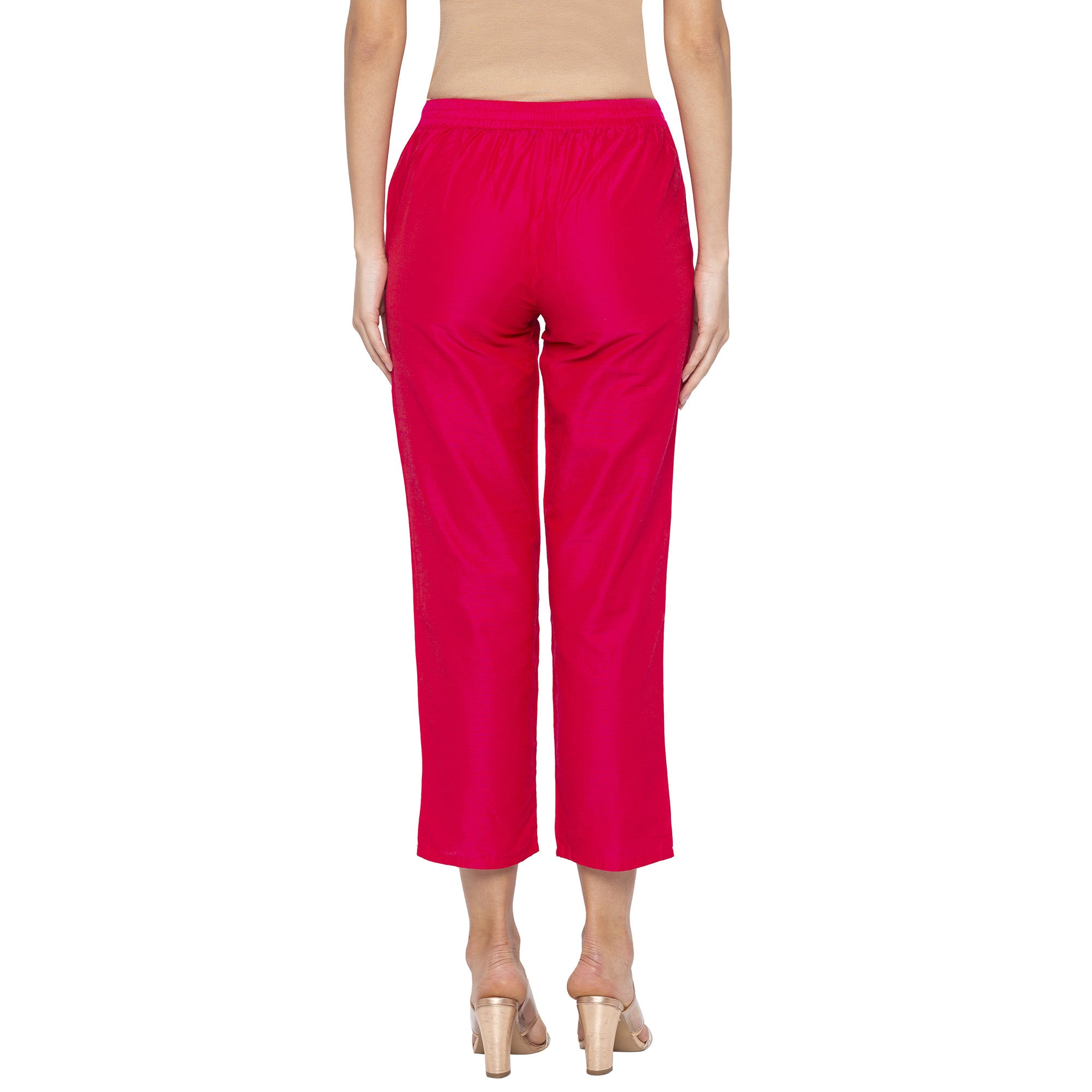 Casual Pink Color Regular Fit Cropped Regular Trousers-3