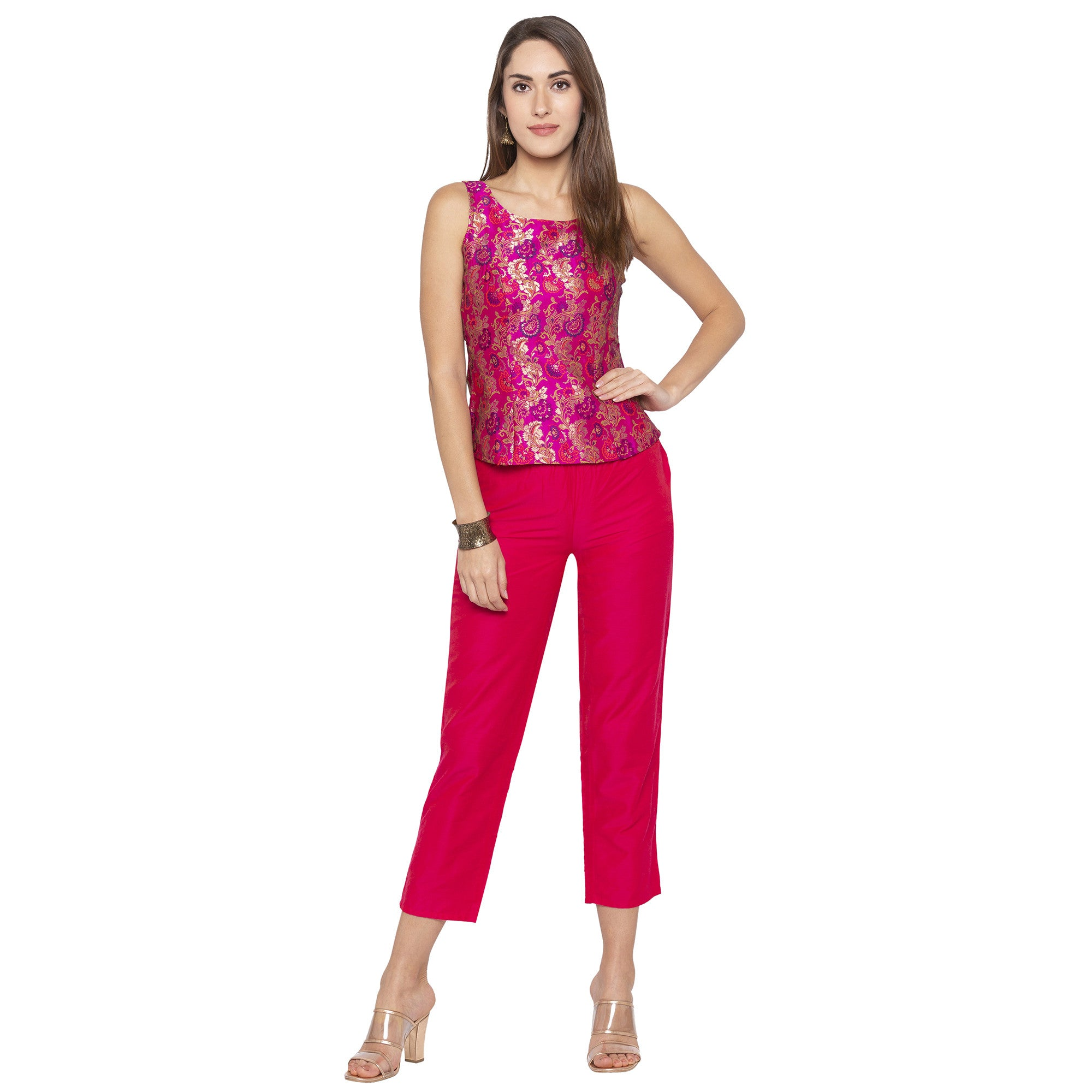 Casual Pink Color Regular Fit Cropped Regular Trousers-4