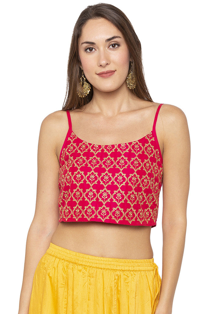 Zari Embroidered Short Pink Ethnic Top