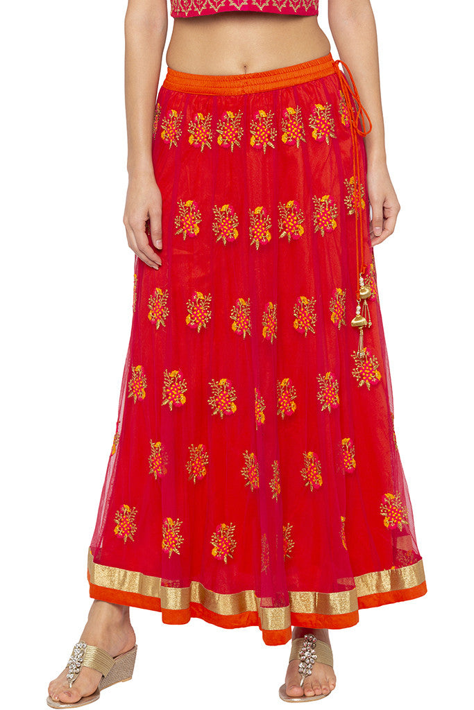 Embroidered Net Ethnic Pink Skirt-1
