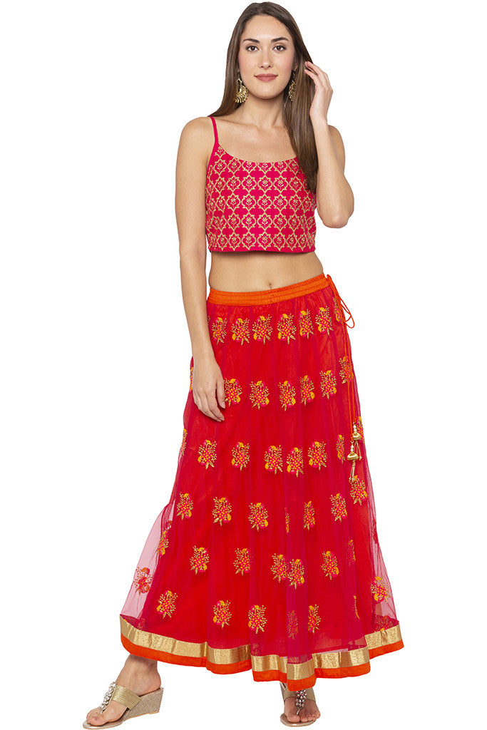 Embroidered Net Ethnic Pink Skirt-2
