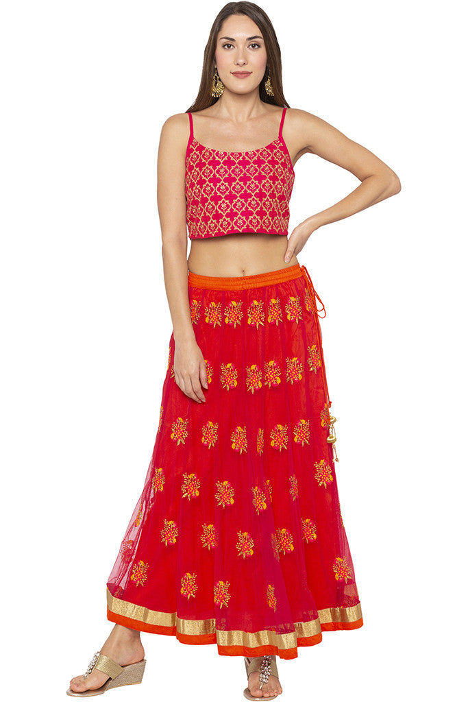 Embroidered Net Ethnic Pink Skirt-6