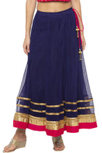 Load image into Gallery viewer, Zari Border Net Flared Navy Blue Skirt-1