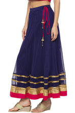 Load image into Gallery viewer, Zari Border Net Flared Navy Blue Skirt-4