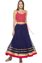 Load image into Gallery viewer, Zari Border Net Flared Navy Blue Skirt-6