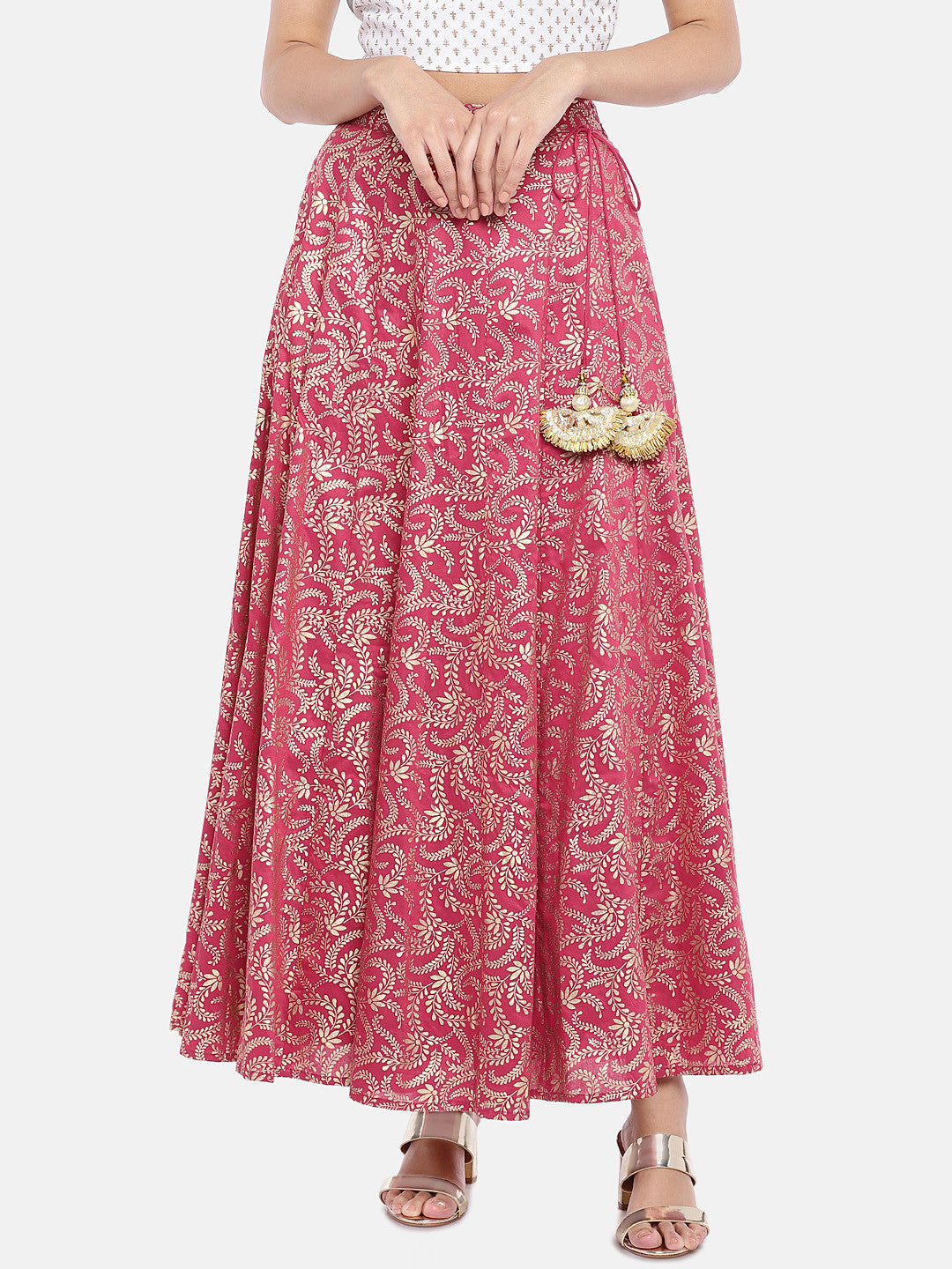 Pink & Gold-Toned Printed Flared Skirt-1