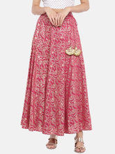 Load image into Gallery viewer, Pink & Gold-Toned Printed Flared Skirt-1