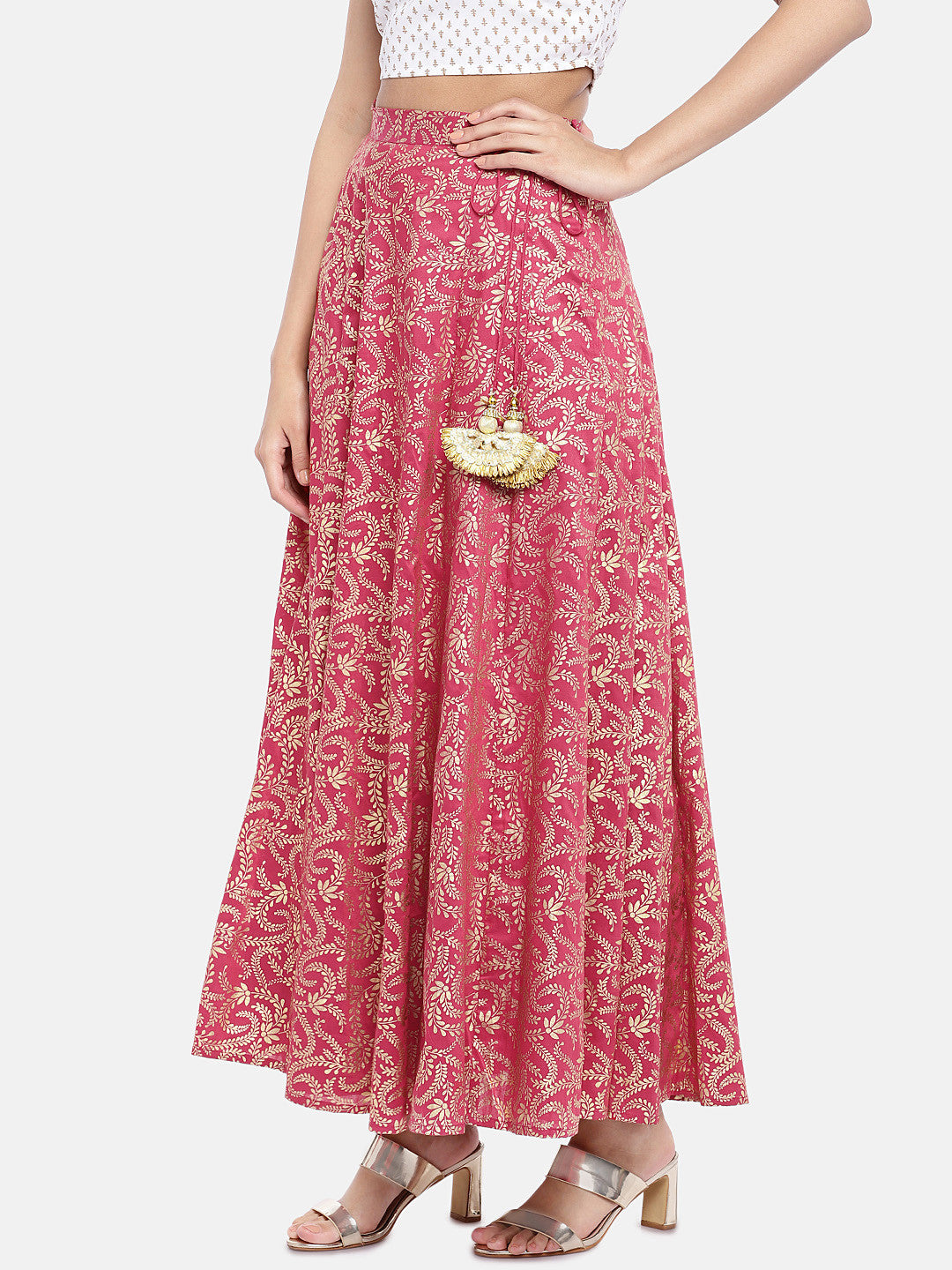 Pink & Gold-Toned Printed Flared Skirt-2