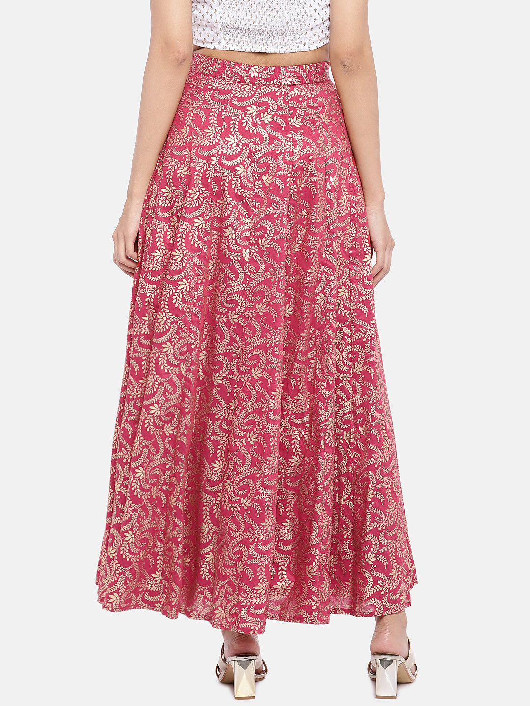 Pink & Gold-Toned Printed Flared Skirt-3