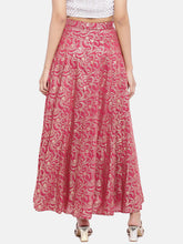 Load image into Gallery viewer, Pink & Gold-Toned Printed Flared Skirt-3