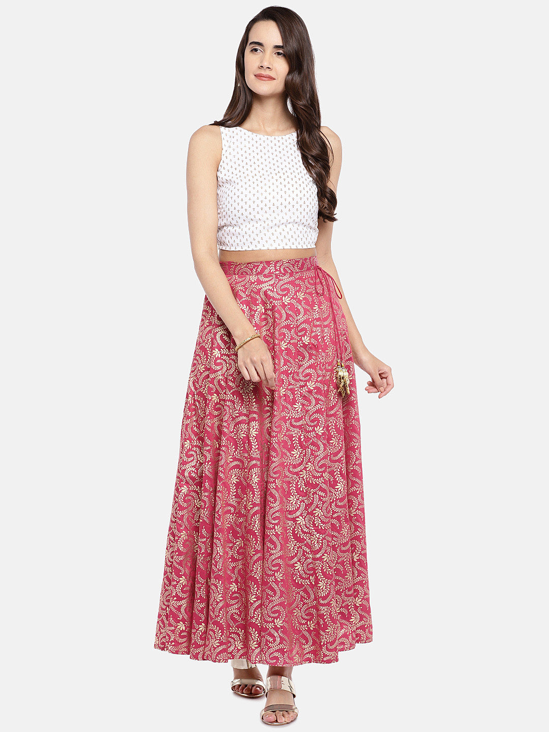 Pink & Gold-Toned Printed Flared Skirt-4