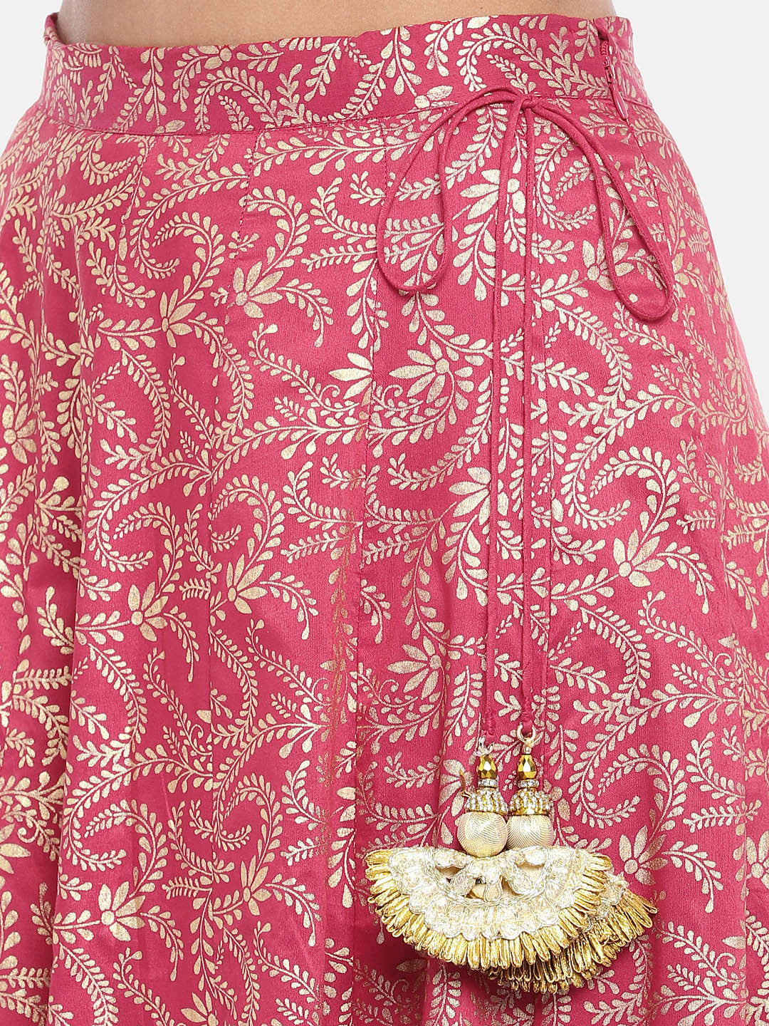 Pink & Gold-Toned Printed Flared Skirt-5