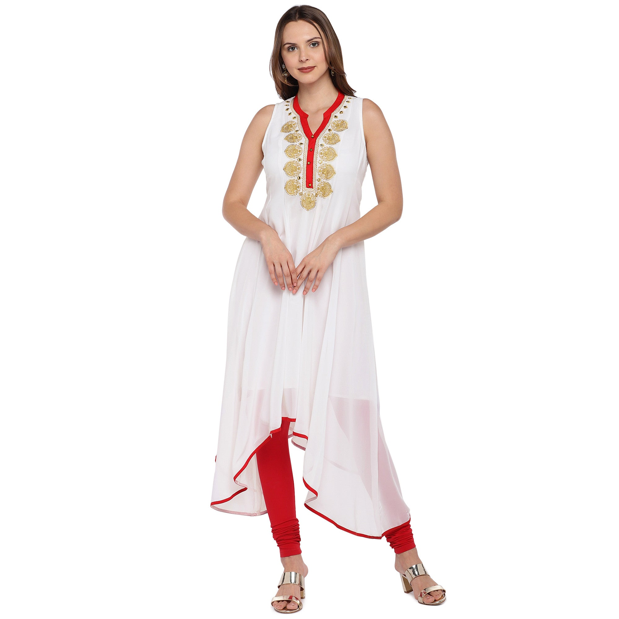 Women White Solid A-Line Kurta-1