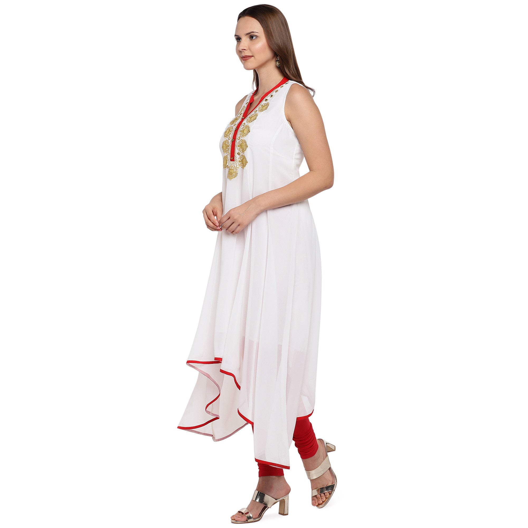 Women White Solid A-Line Kurta-2