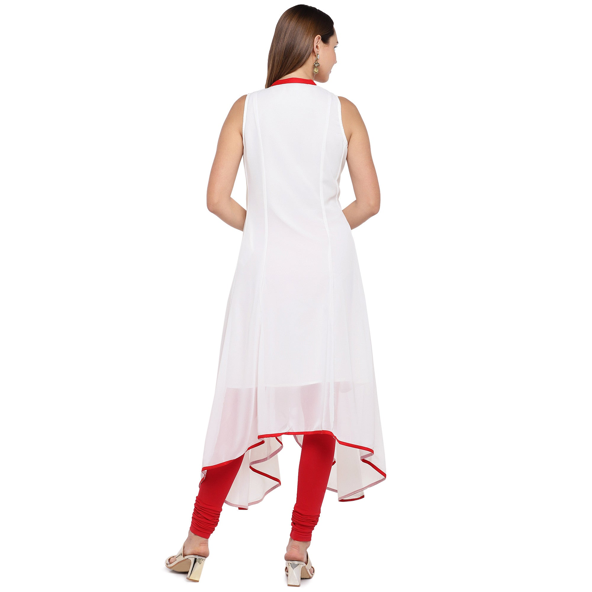 Women White Solid A-Line Kurta-3