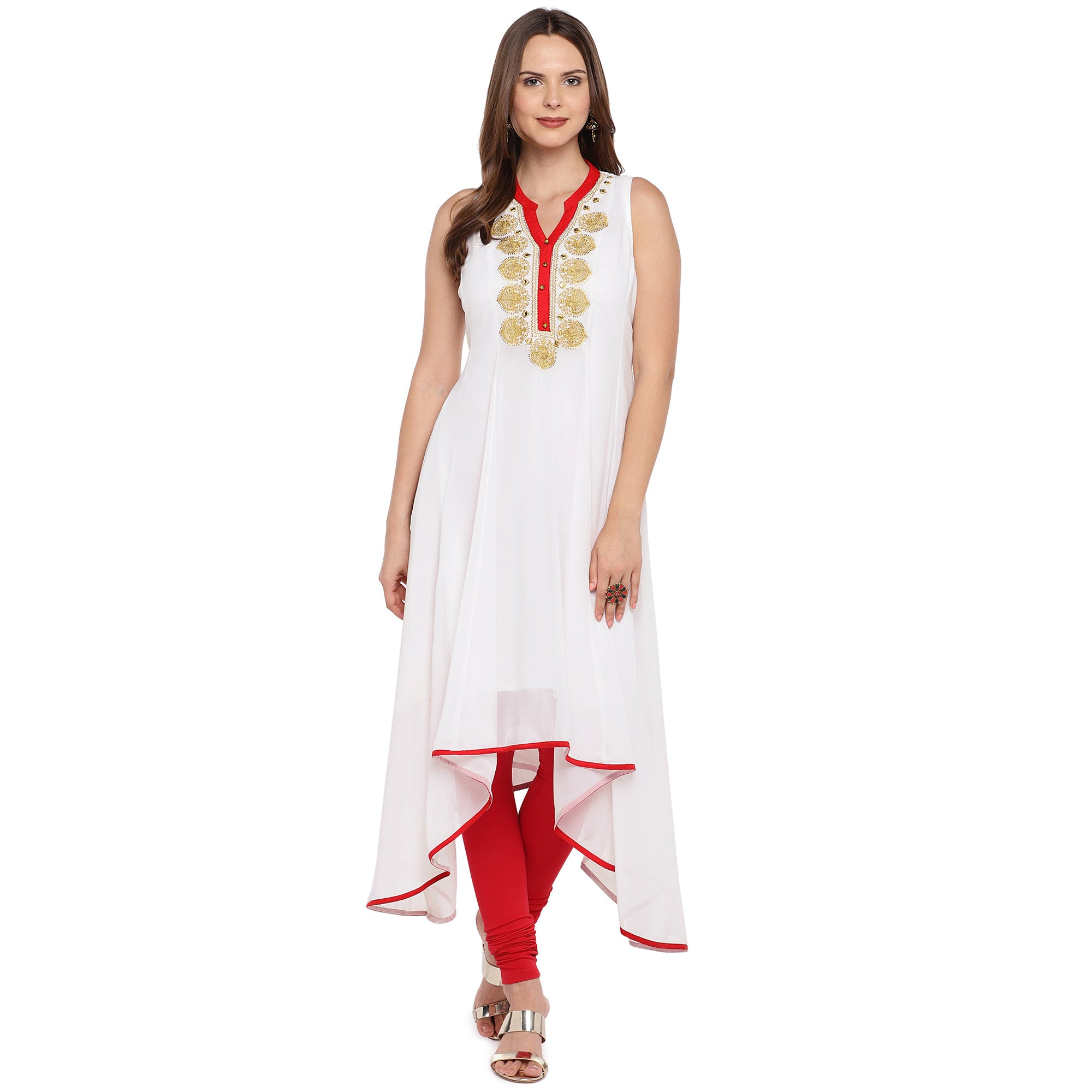 Women White Solid A-Line Kurta-4
