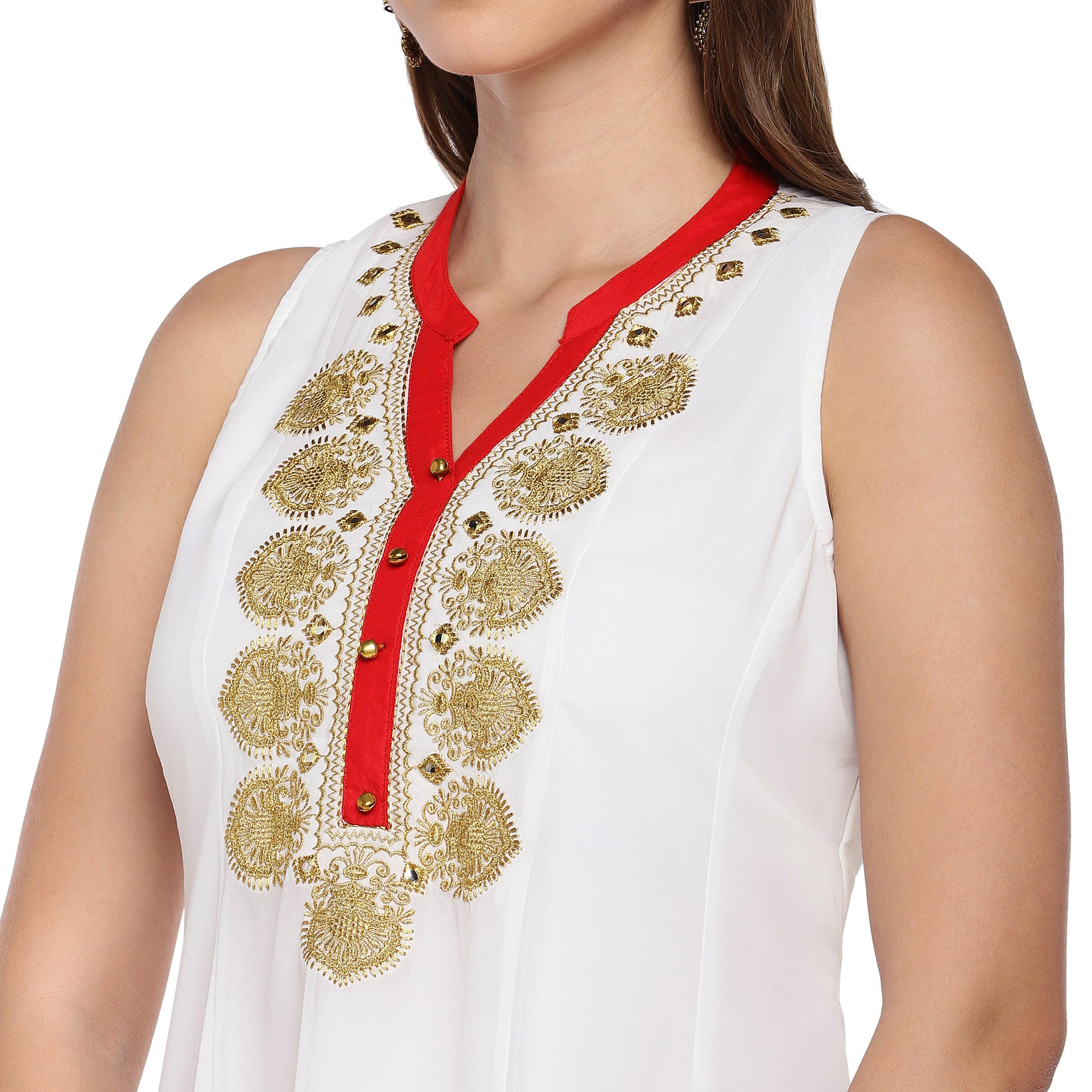 Women White Solid A-Line Kurta-5