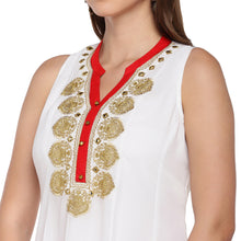 Load image into Gallery viewer, Women White Solid A-Line Kurta-5