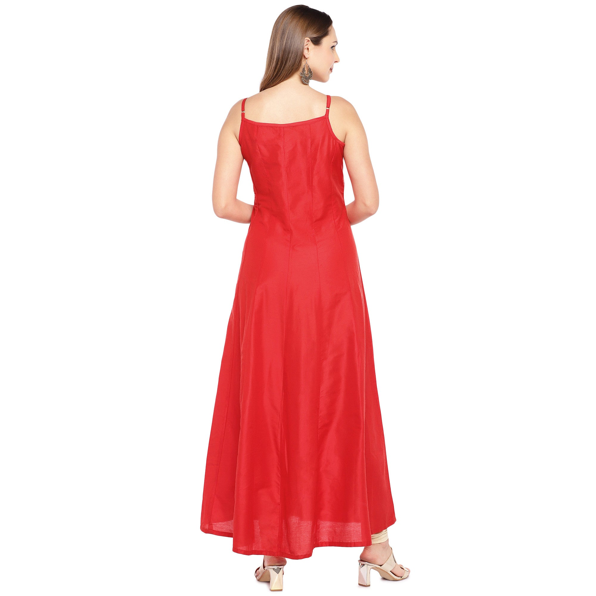 Women Red Woven Design A-Line Kurta-3