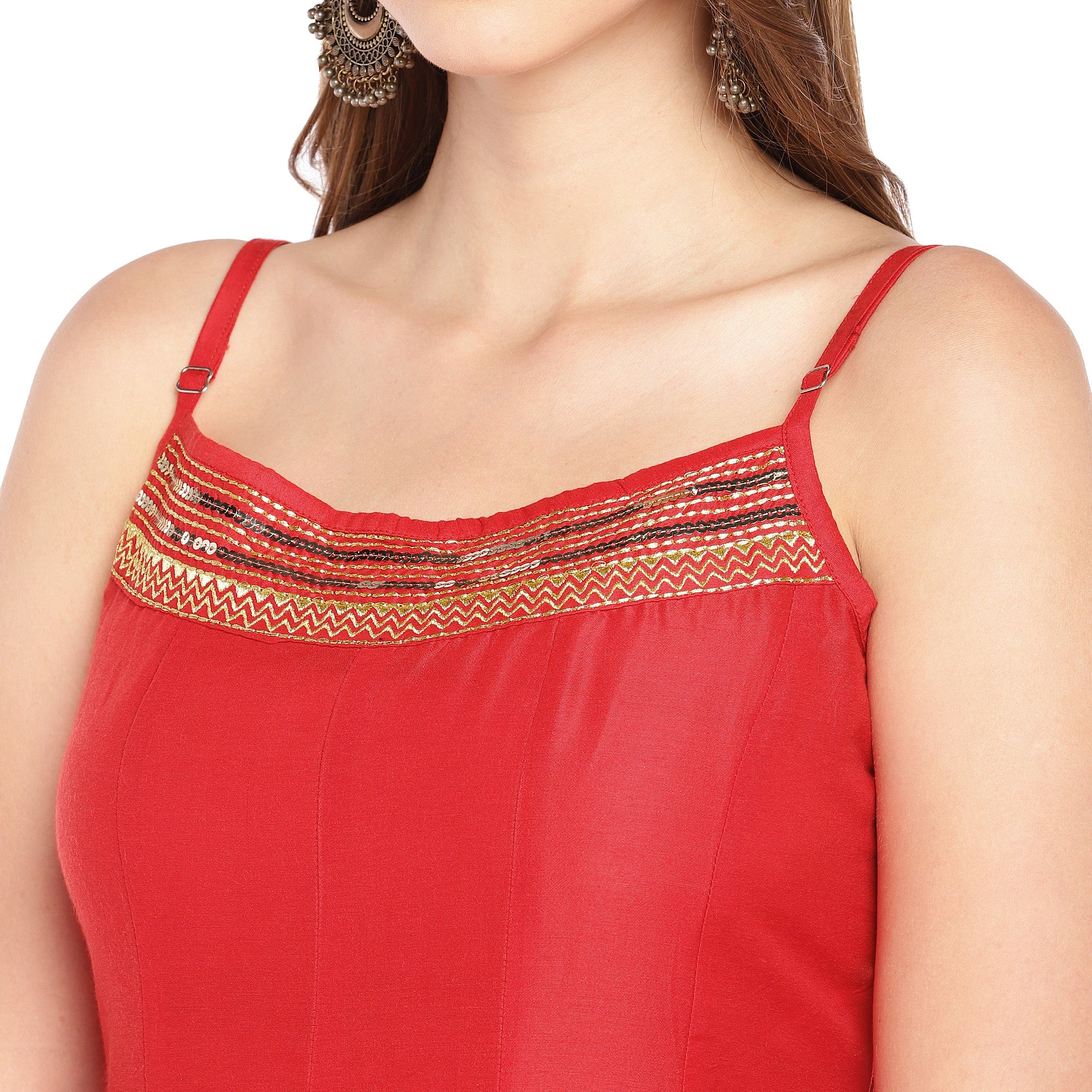 Women Red Woven Design A-Line Kurta-5