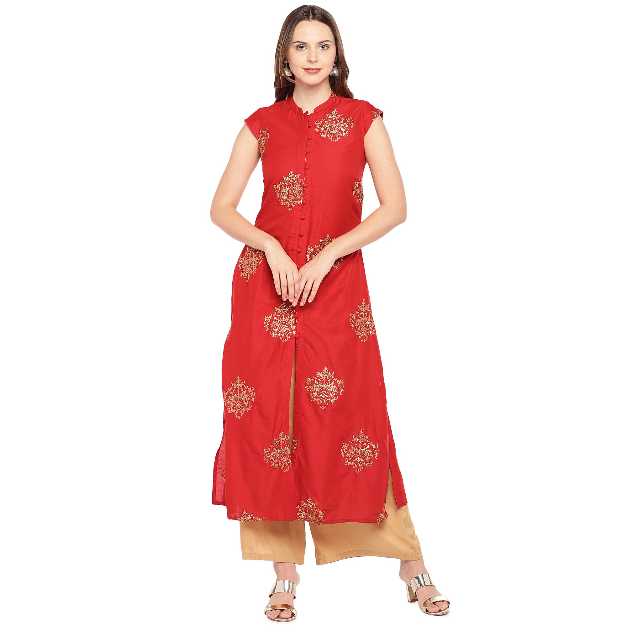 Women Red Printed Straight Kurta-1