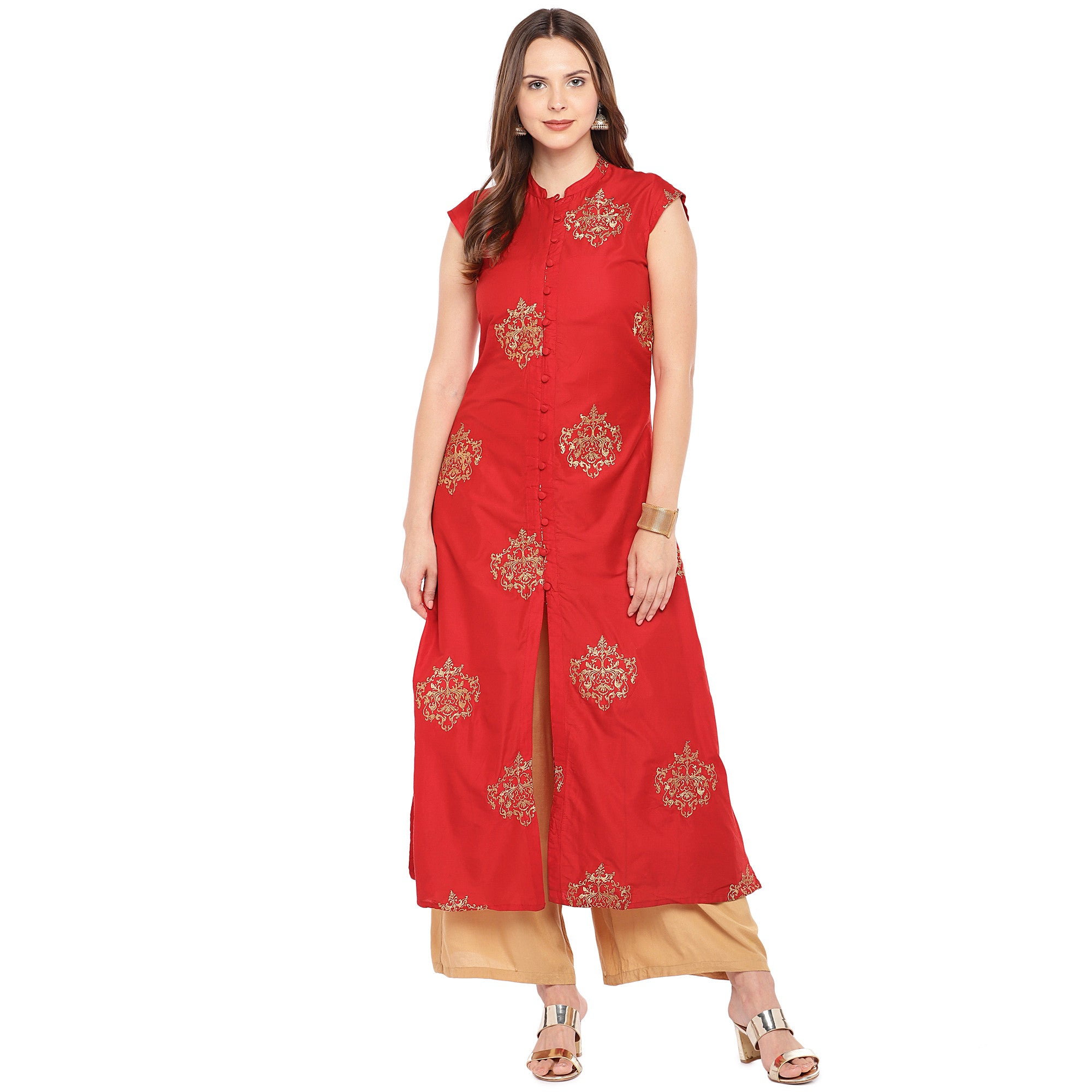 Women Red Printed Straight Kurta-4