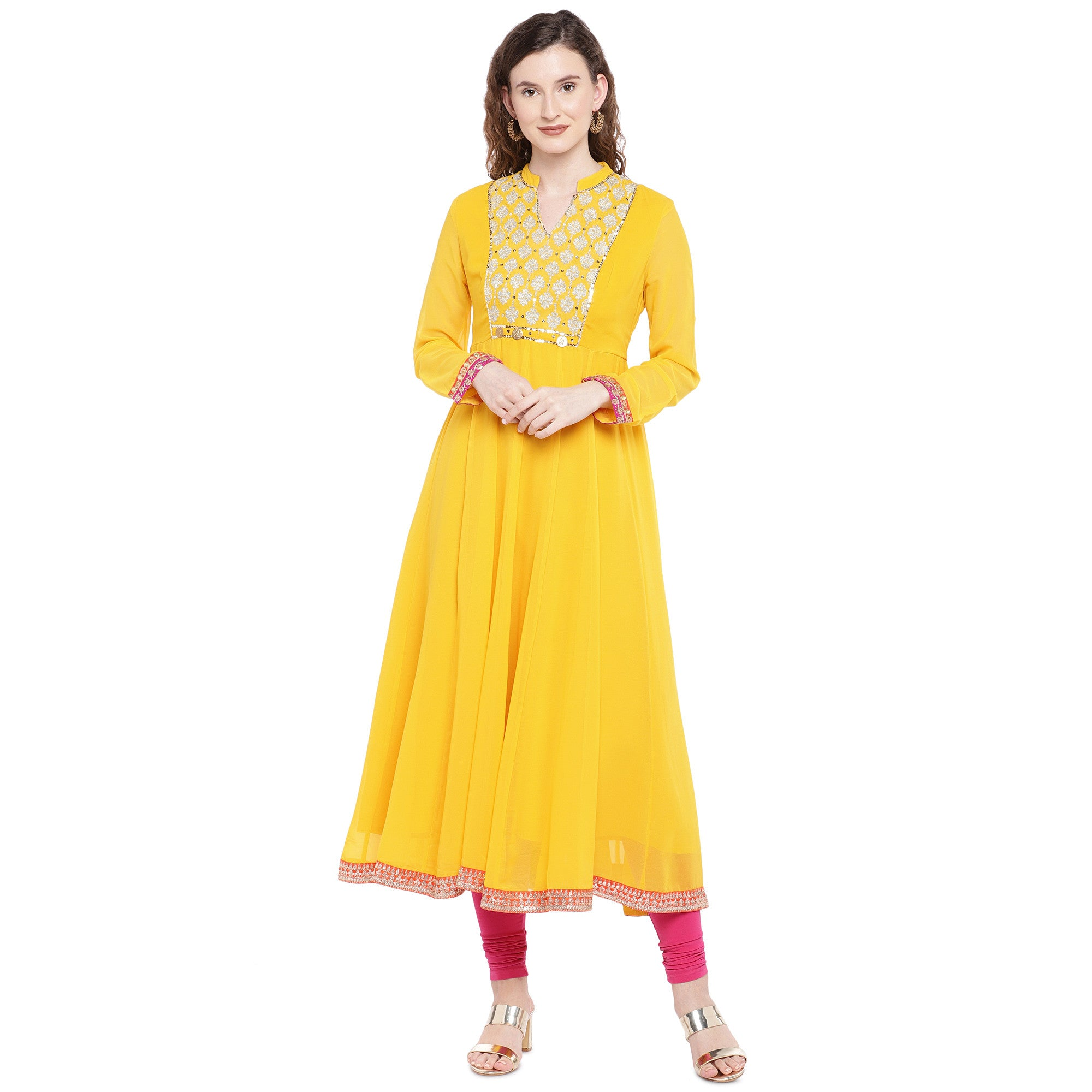 Yellow Solid Anarkali Kurta-1