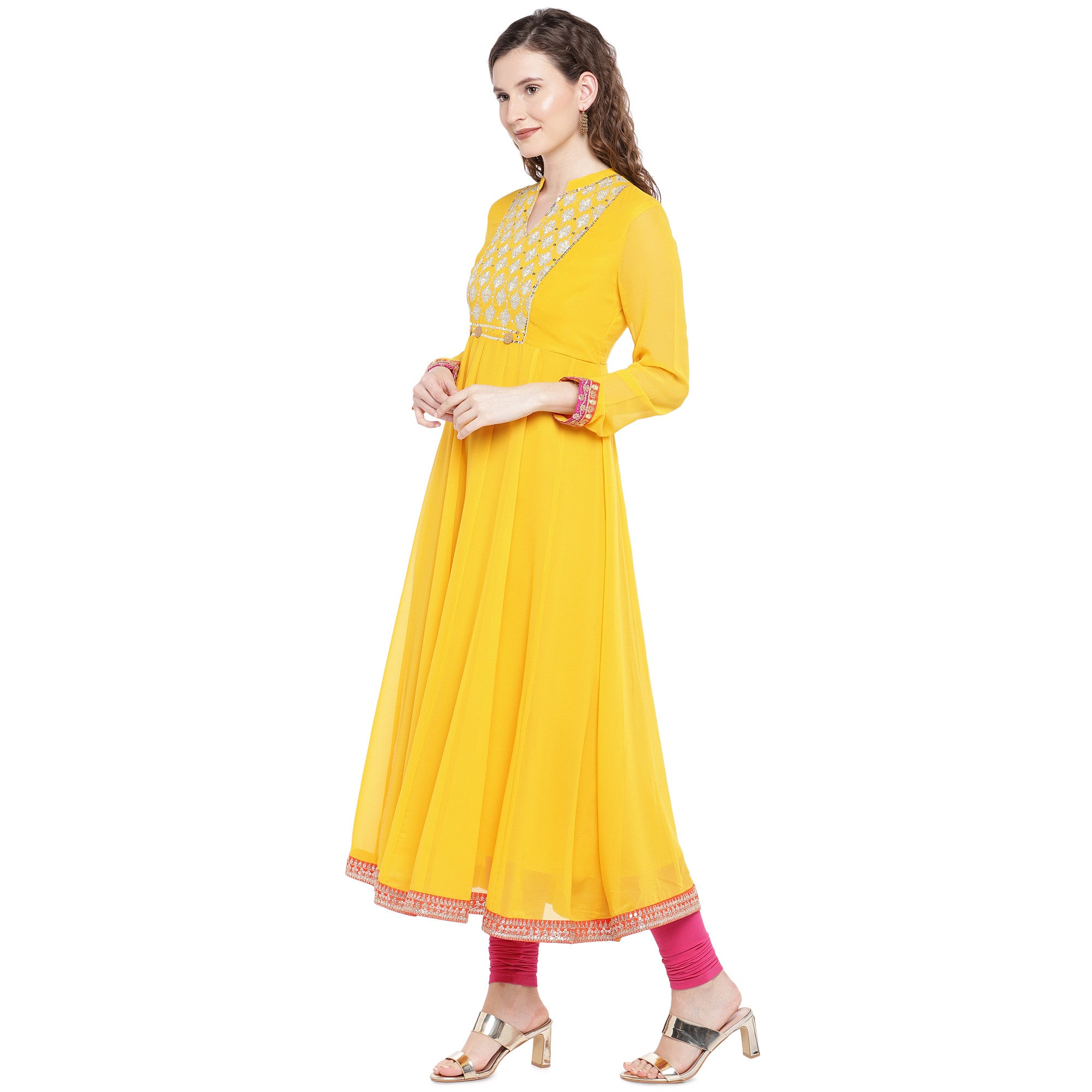Yellow Solid Anarkali Kurta-2