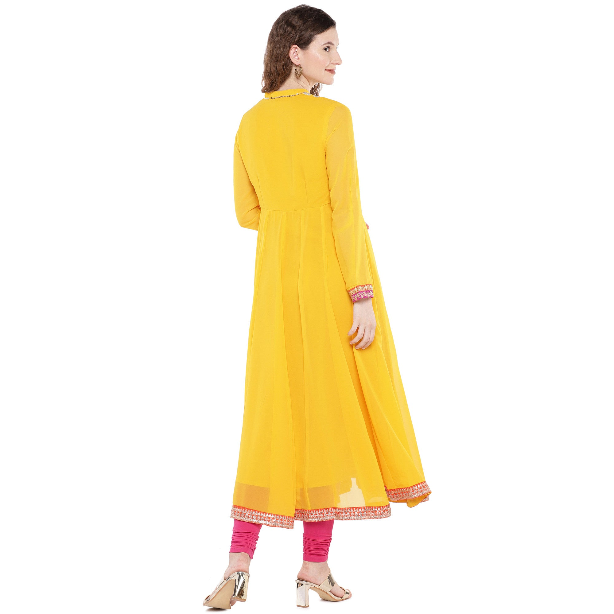 Yellow Solid Anarkali Kurta-3