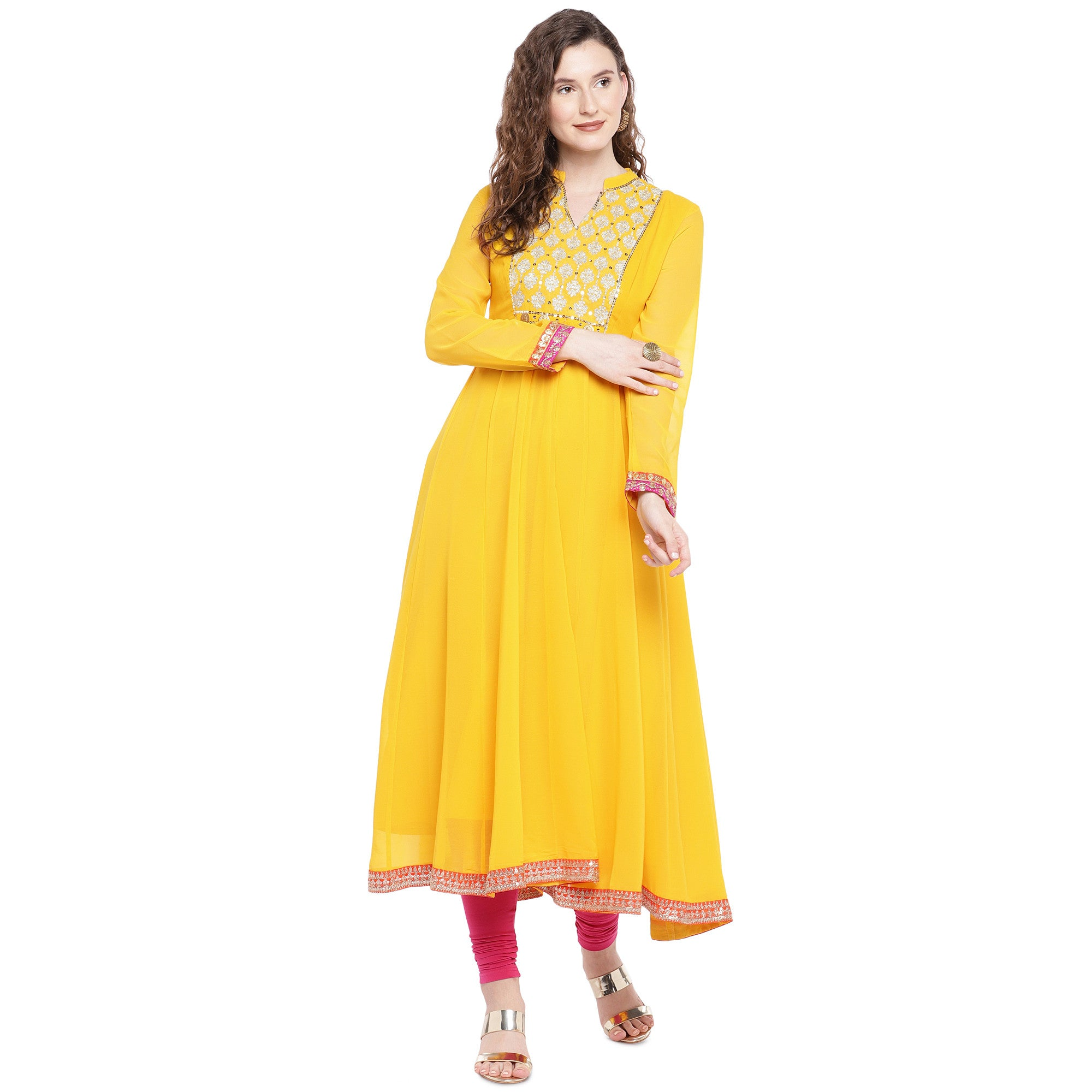 Yellow Solid Anarkali Kurta-4