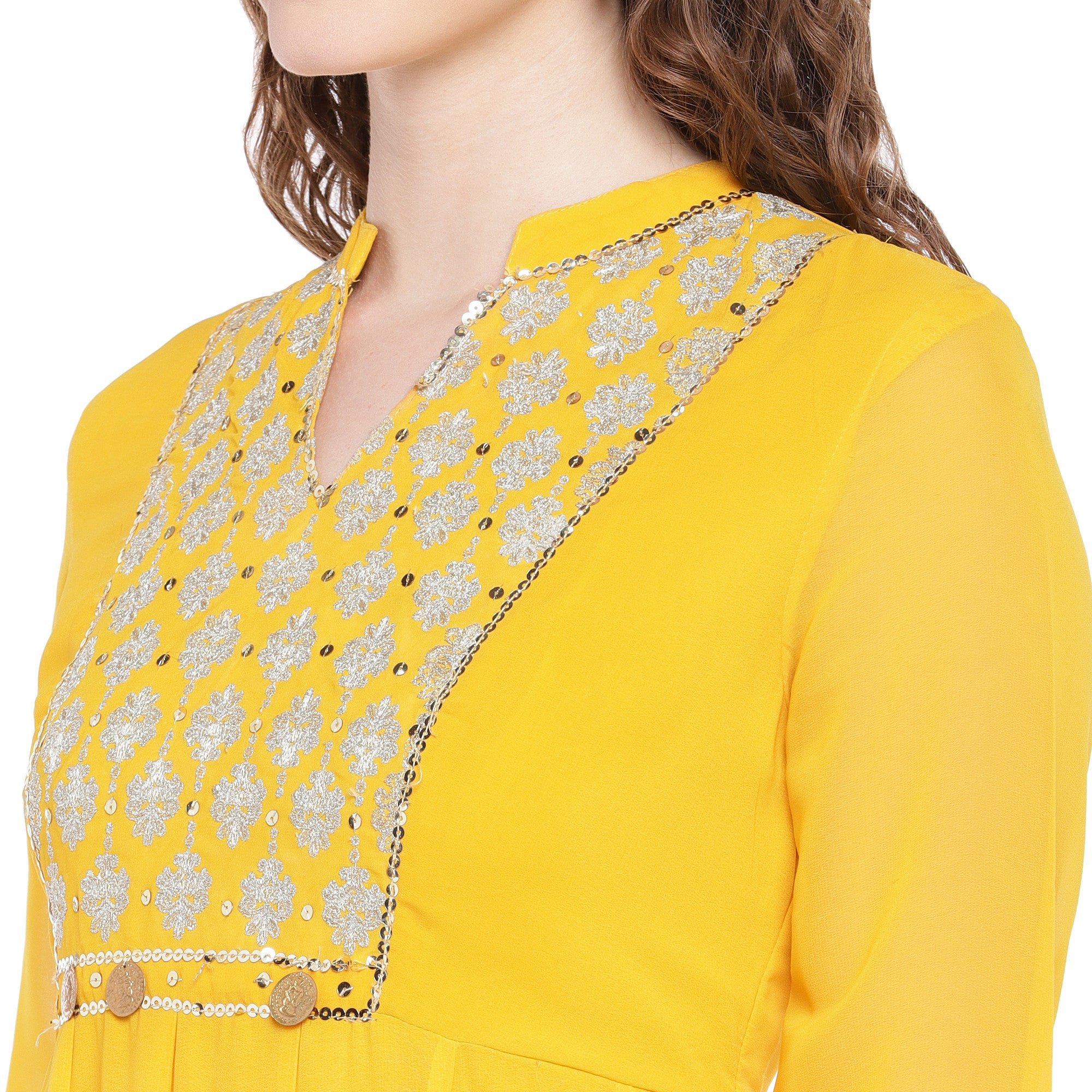 Yellow Solid Anarkali Kurta-5