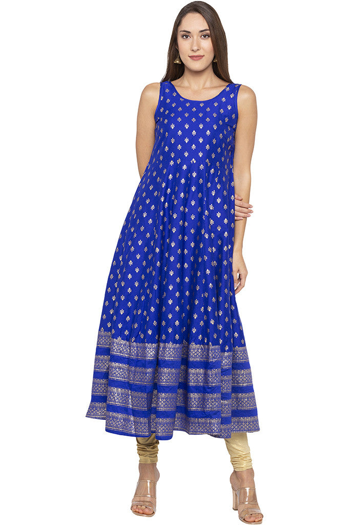 Butti Print Long Blue Kurta-1