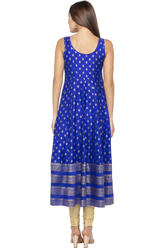 Butti Print Long Blue Kurta-3