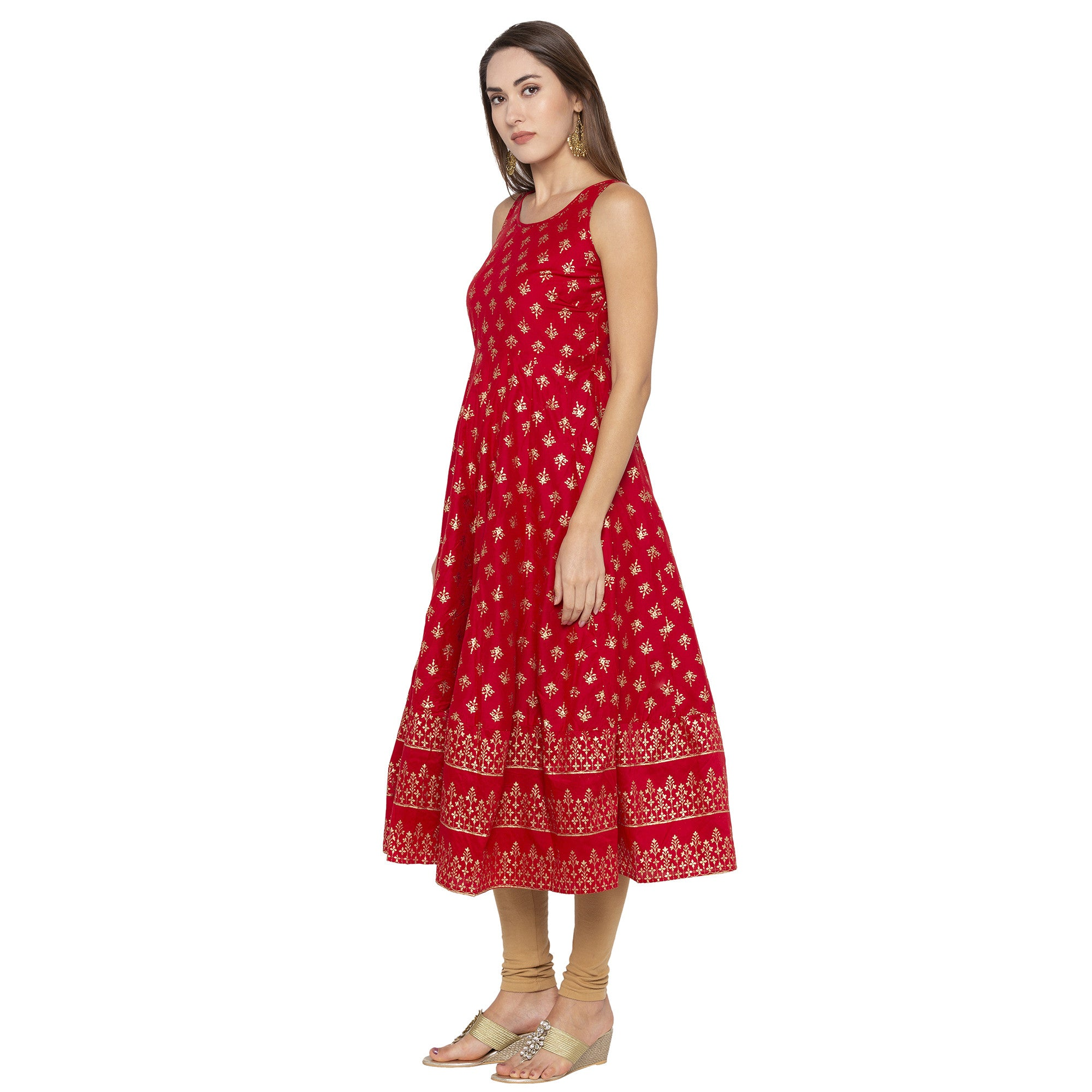 Ethnic Red Color Anarkali Printed Regular Kurtas-2