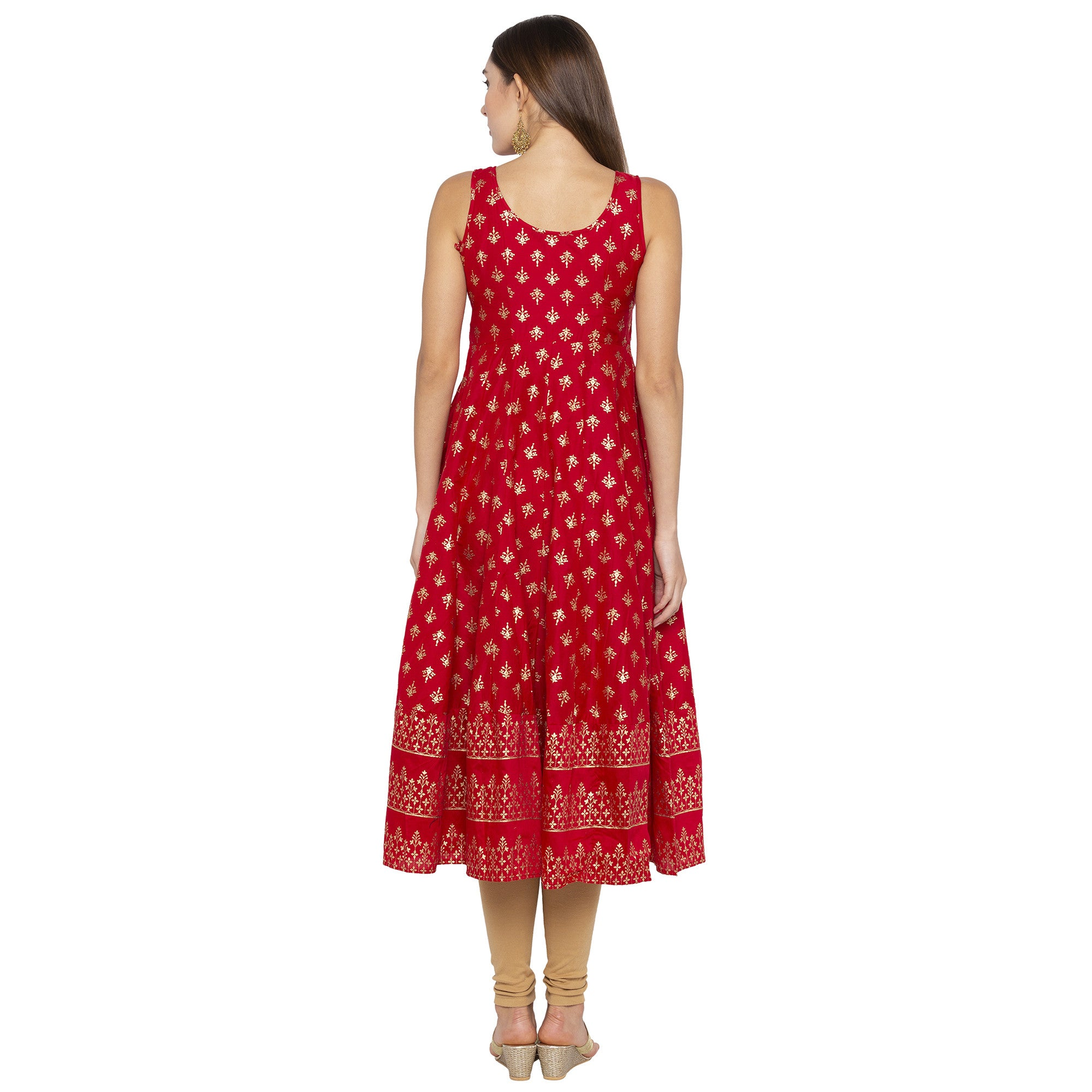 Ethnic Red Color Anarkali Printed Regular Kurtas-3