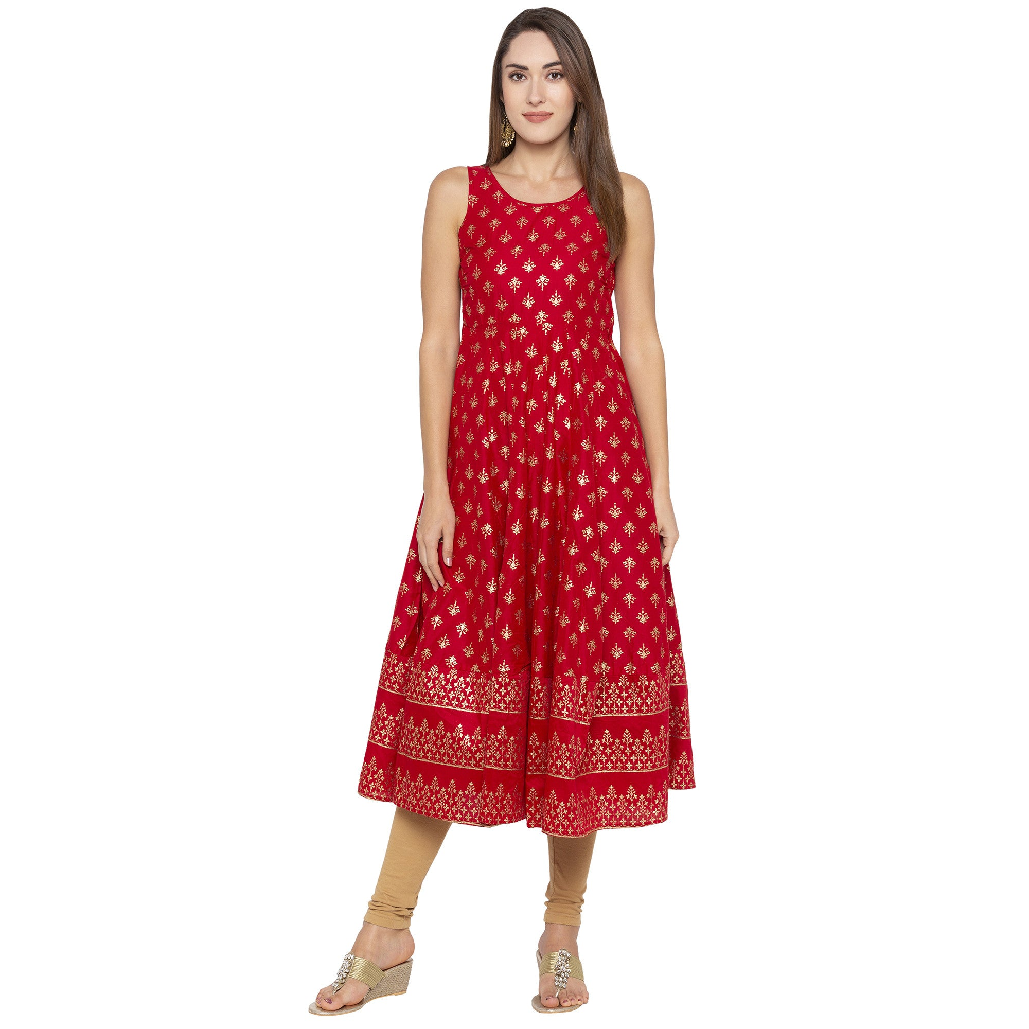 Ethnic Red Color Anarkali Printed Regular Kurtas-4